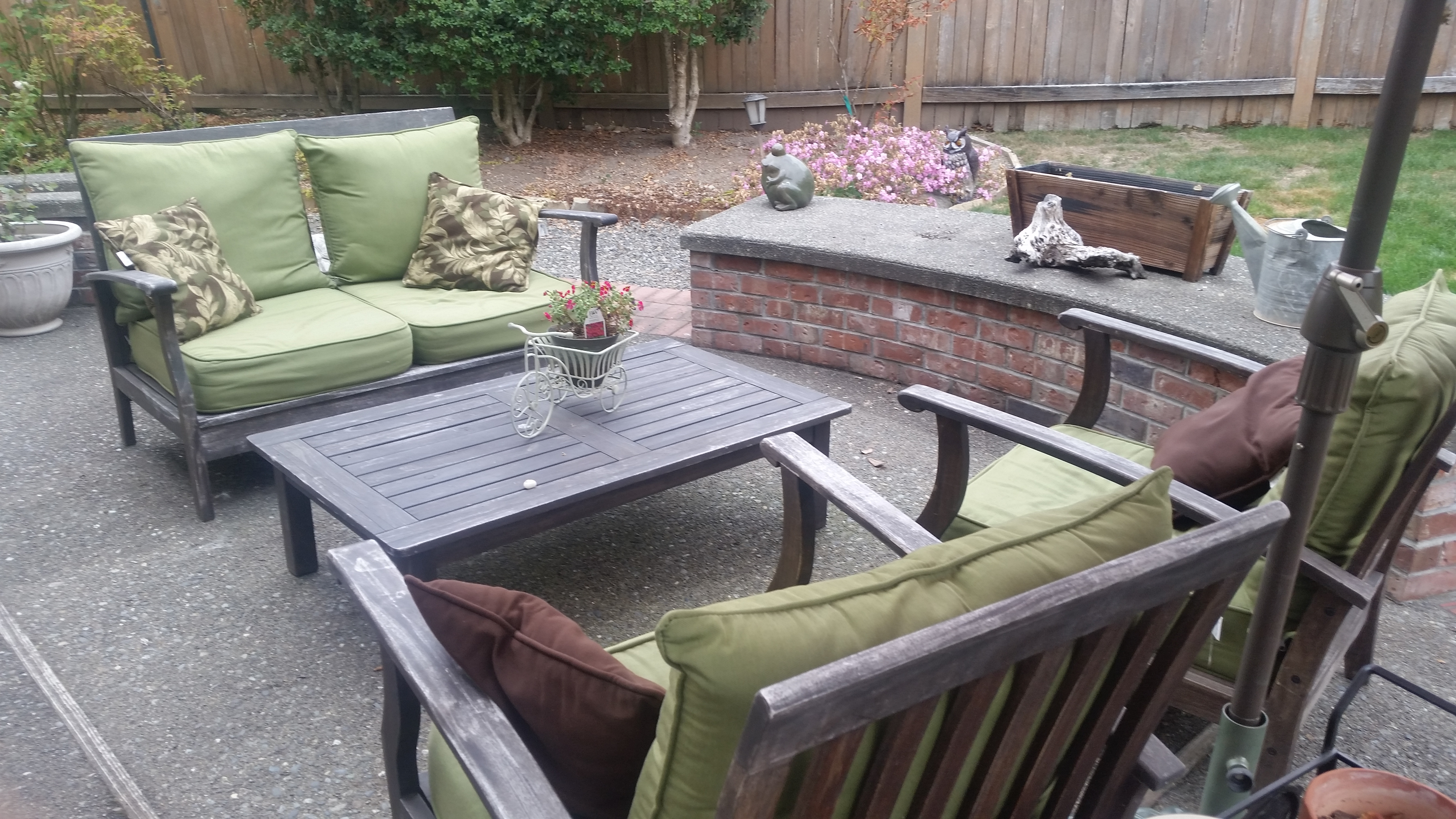 patio furniture wood with cushions four pieces