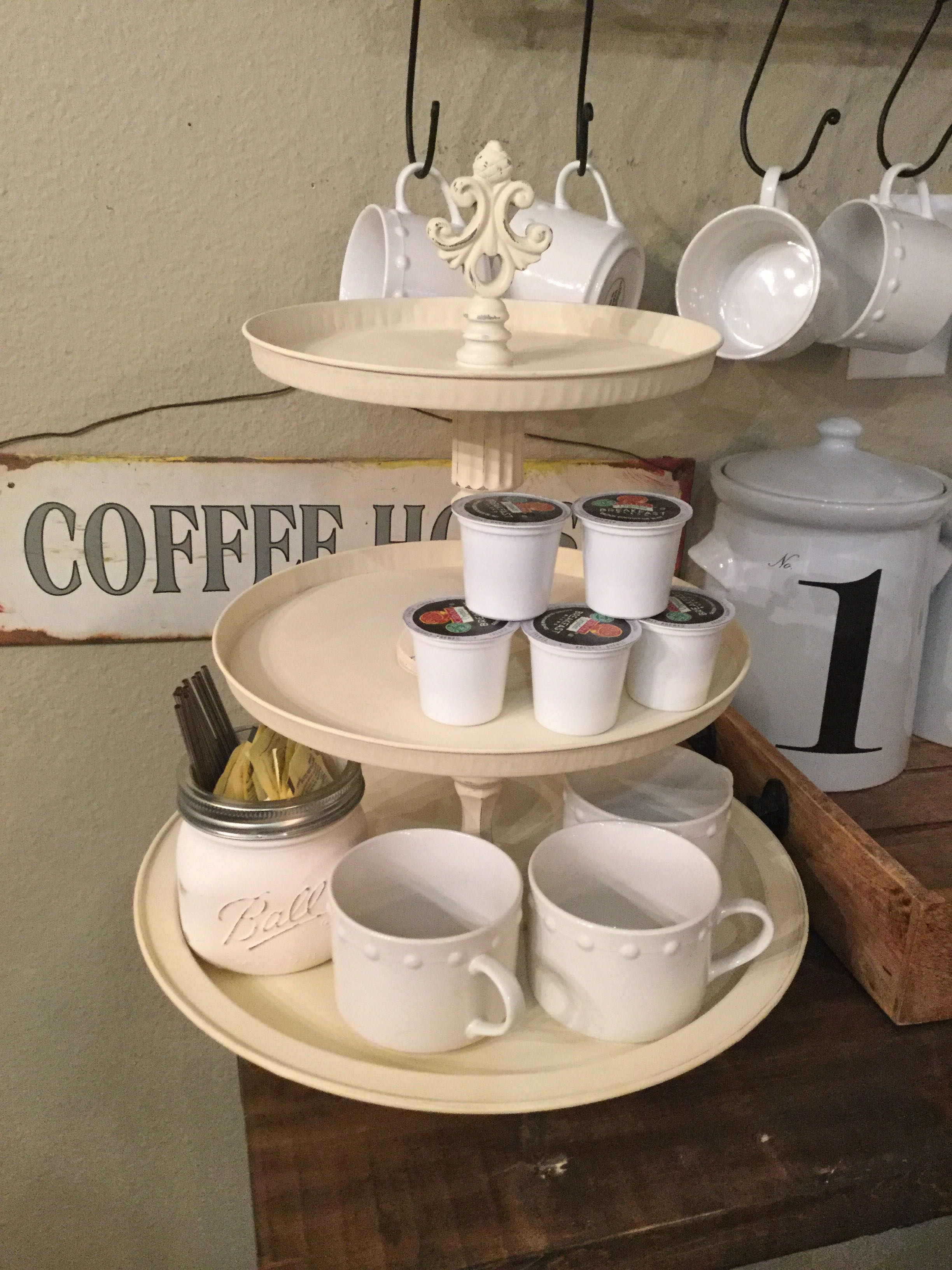 3-Tiered cream chalk painted metal stacking tray