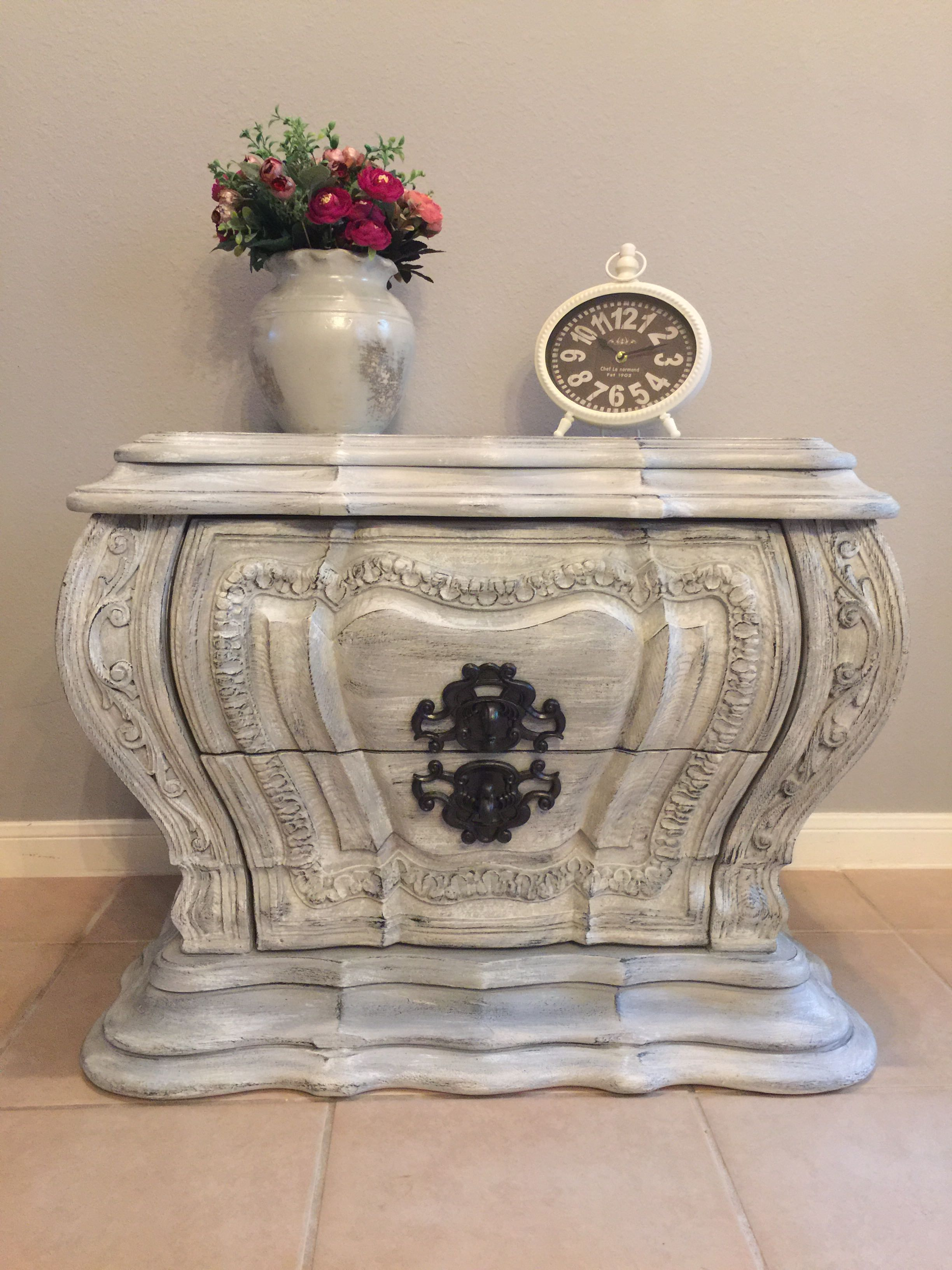 Refinished ornate solid wood accent piece