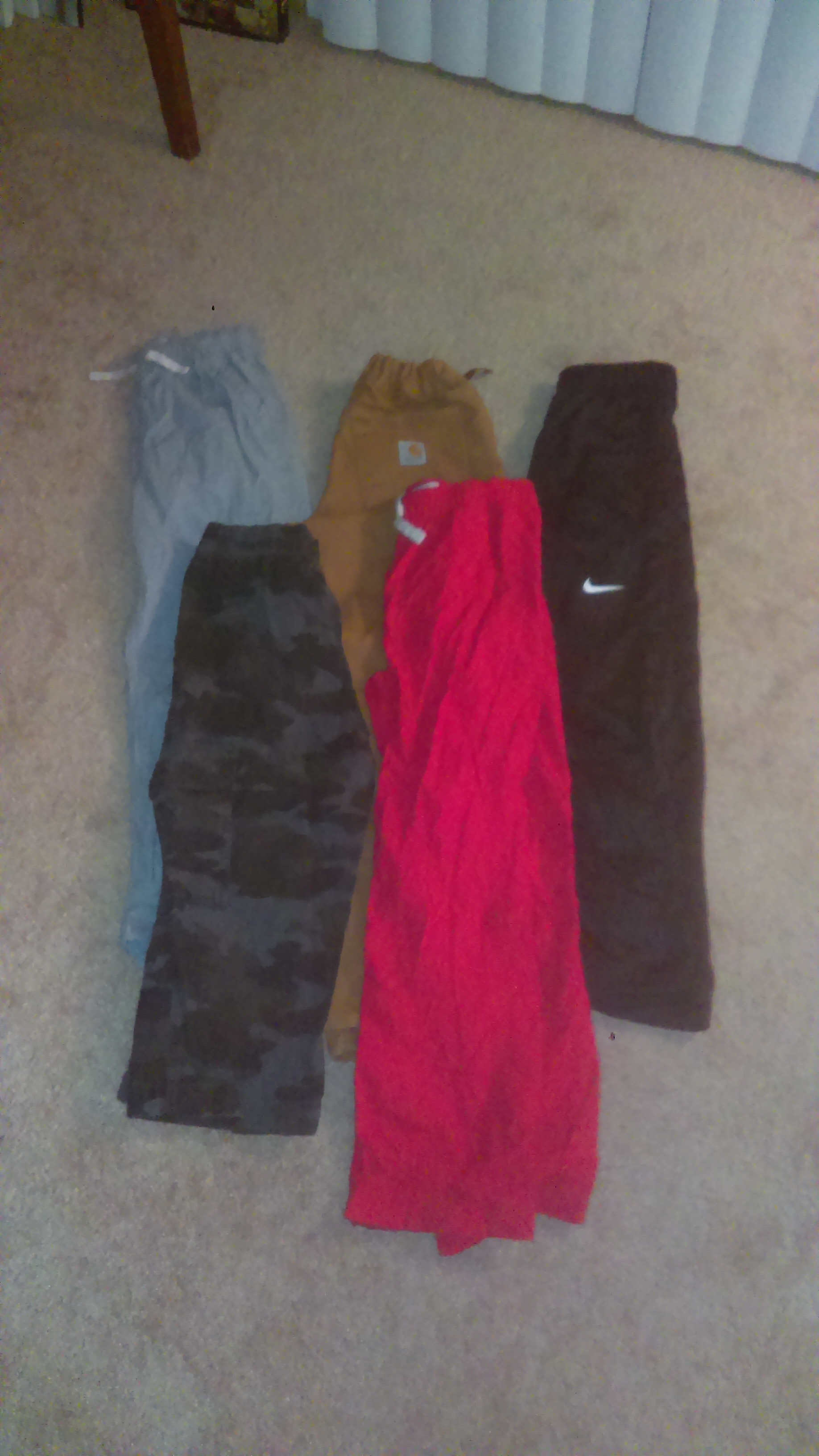 Carhart,  children's place, and Nike size 10