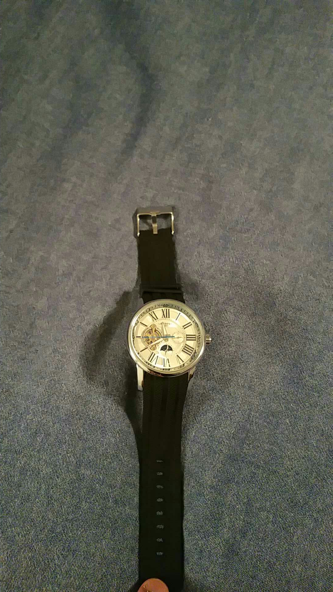 Black and silver mechanical watch