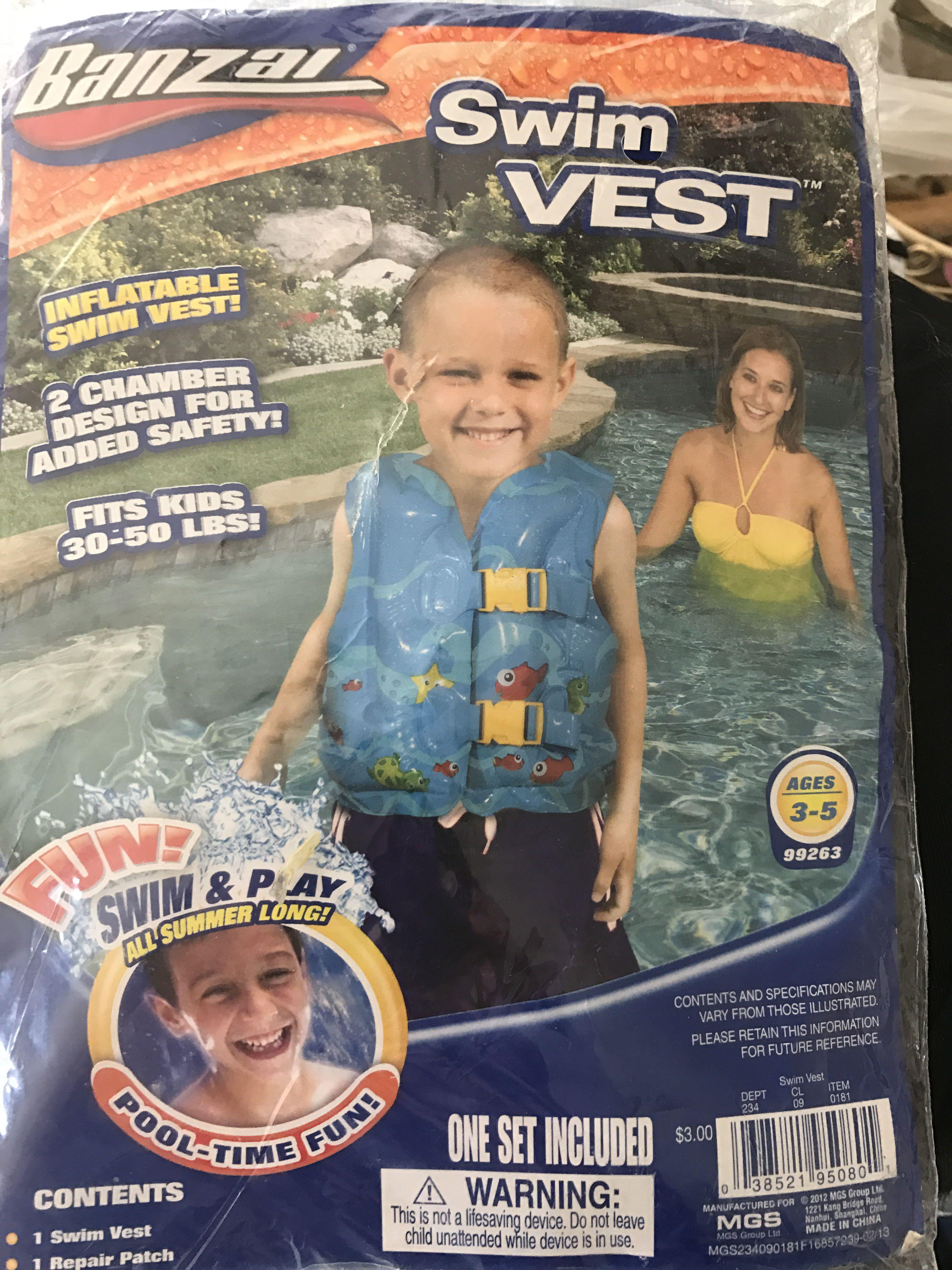 New inflatable swim vest (30-50lbs.)