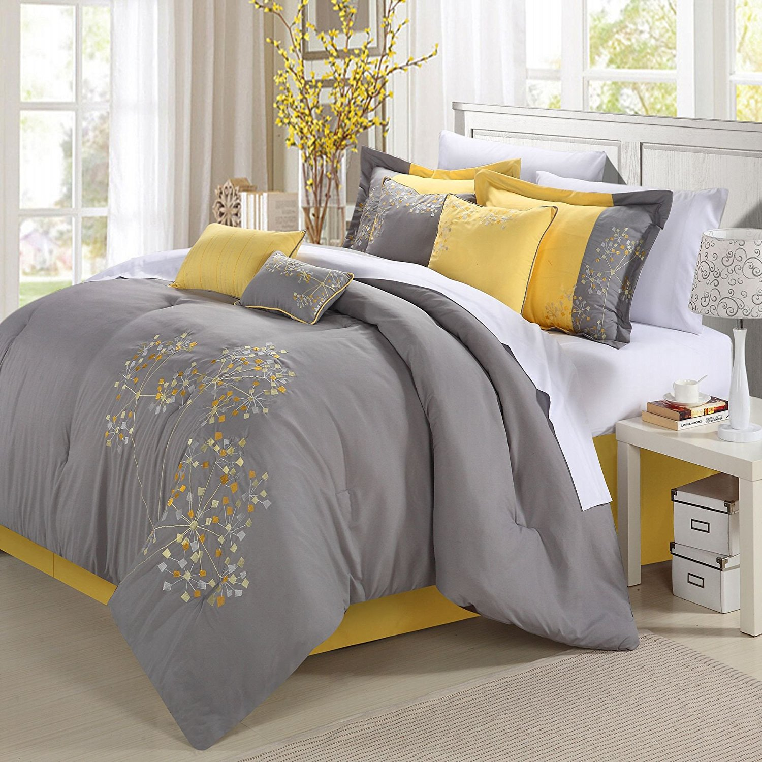 NEW Chic Home 8-Piece Embroidery Comforter Set, Queen, Pink Floral Yellow