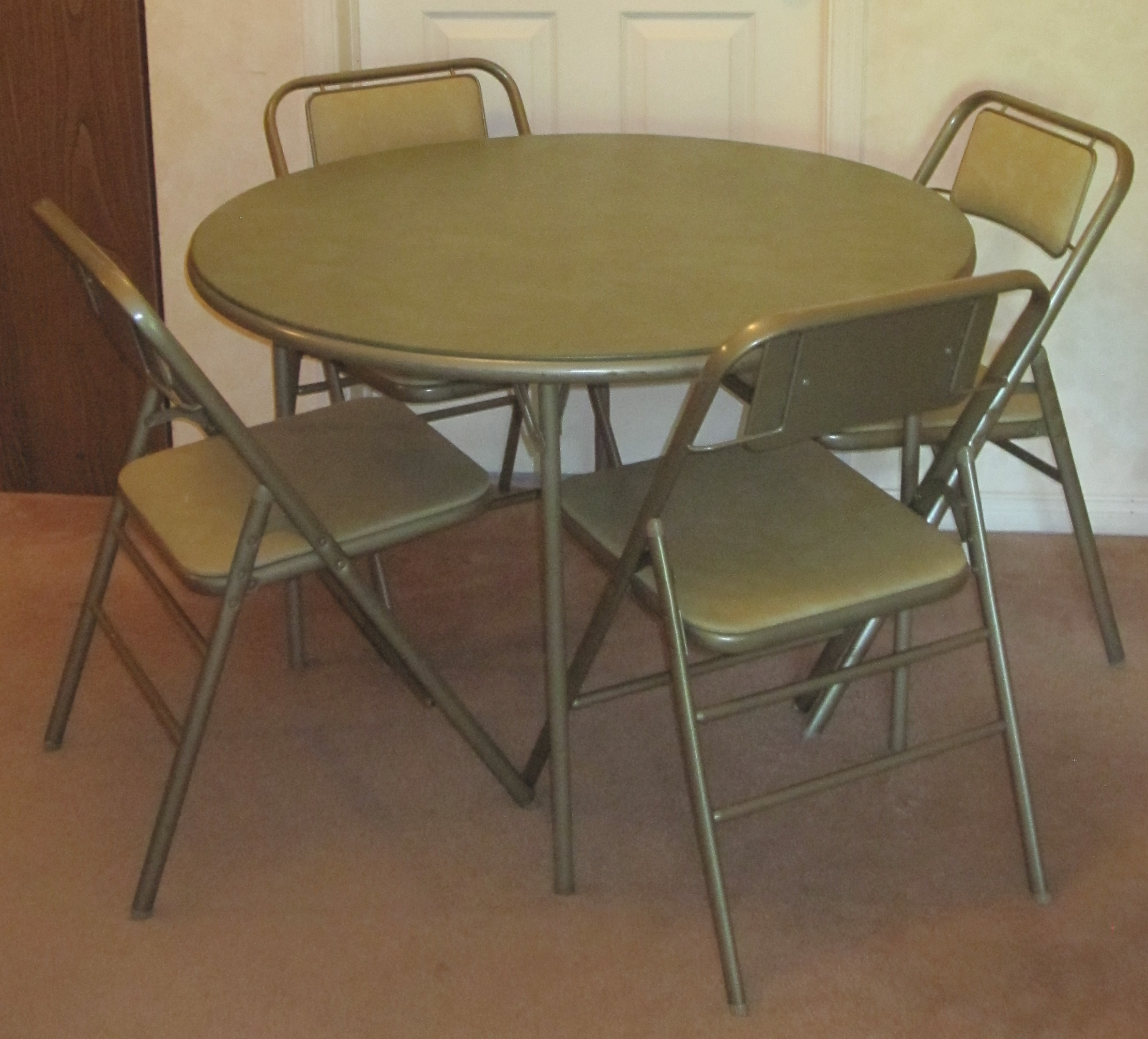 Relatively Best Samsonite Round Folding Card Table/ 4 Chairs/beverage Holder  YR42