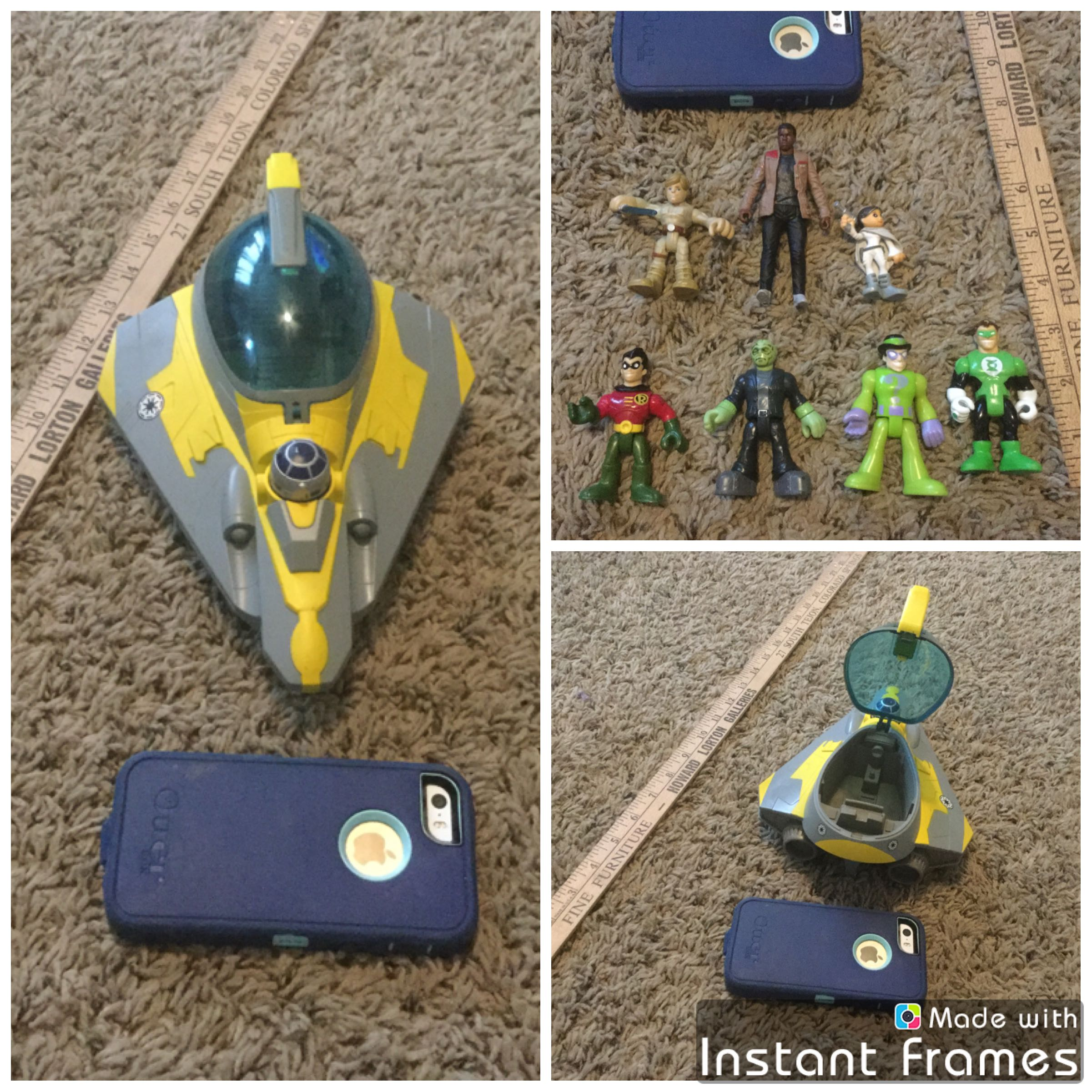 Action figures plus Star Wars ship that open to hold figure. Includes all 7 figures and ship for $6.00. Imaginext figures, Star Wars figures