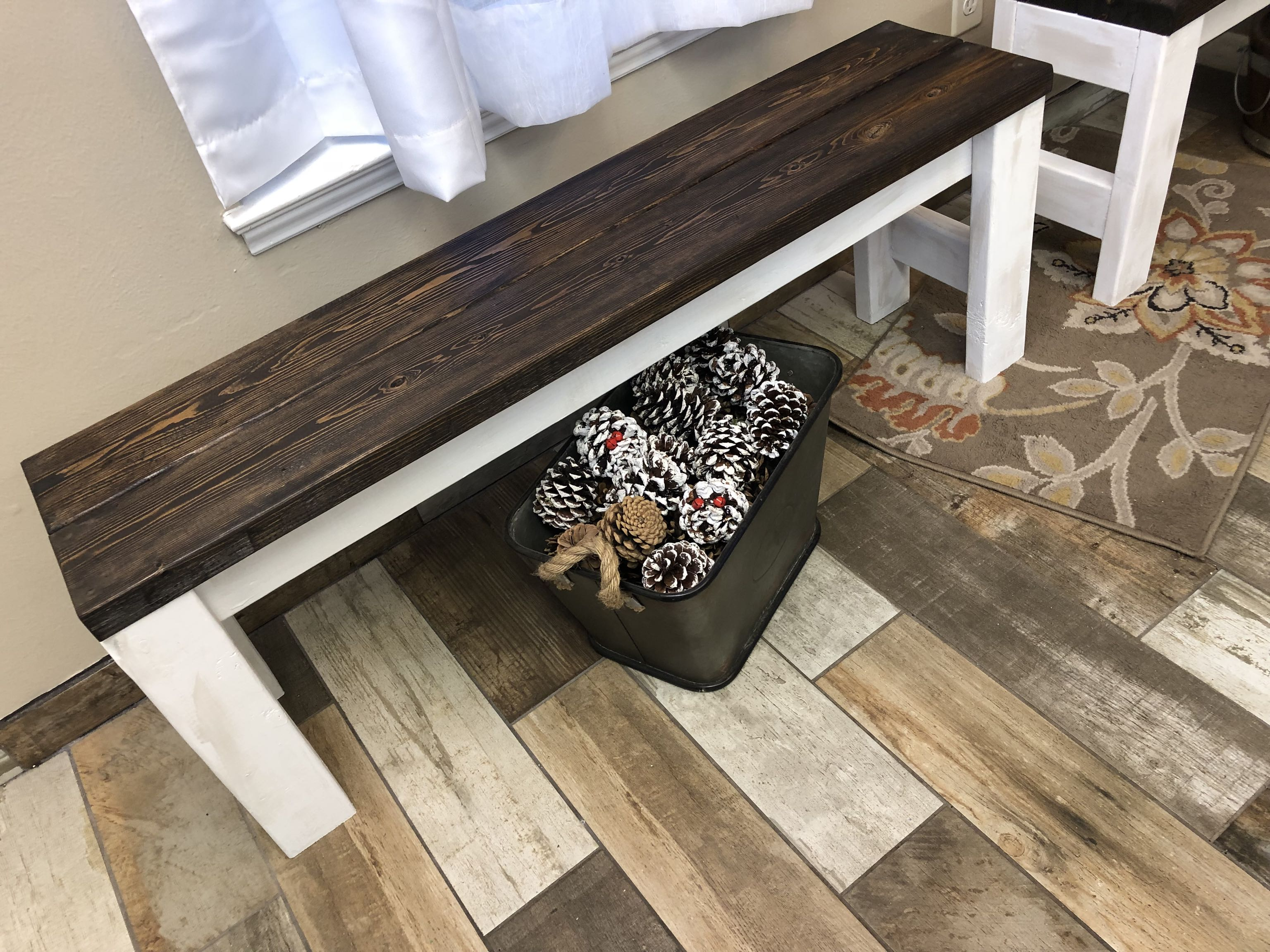 Rustic farm style entry way bench
