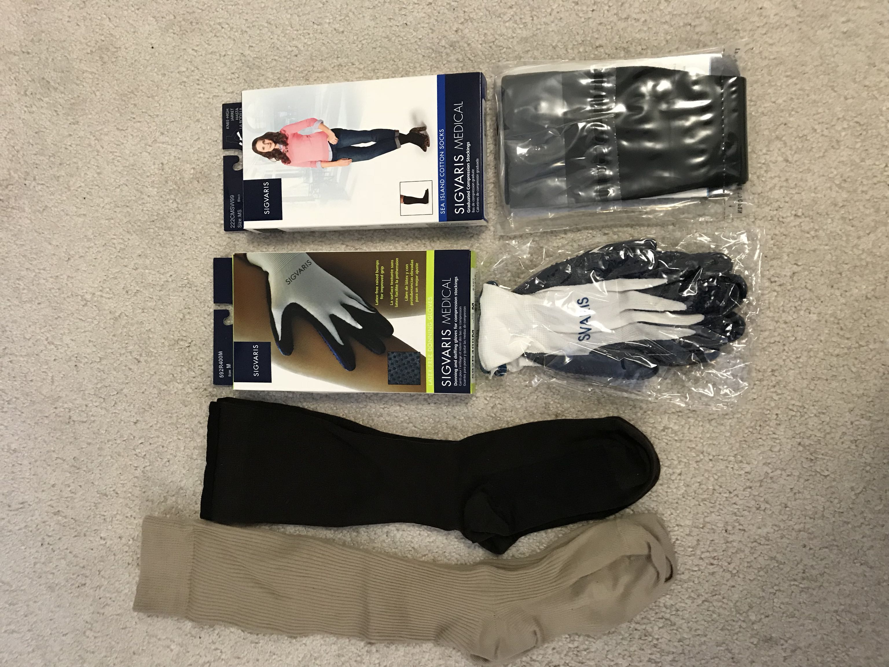 Sigvaris Compression Stockings & Donning Gloves
