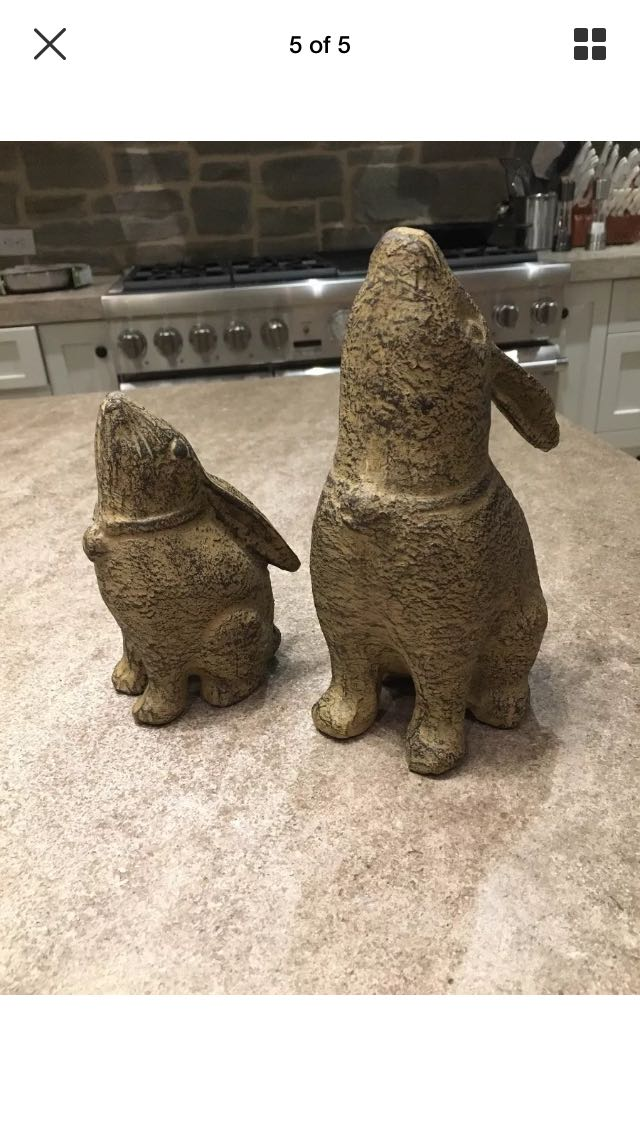 Set of 2 Stone Carved Rabbits