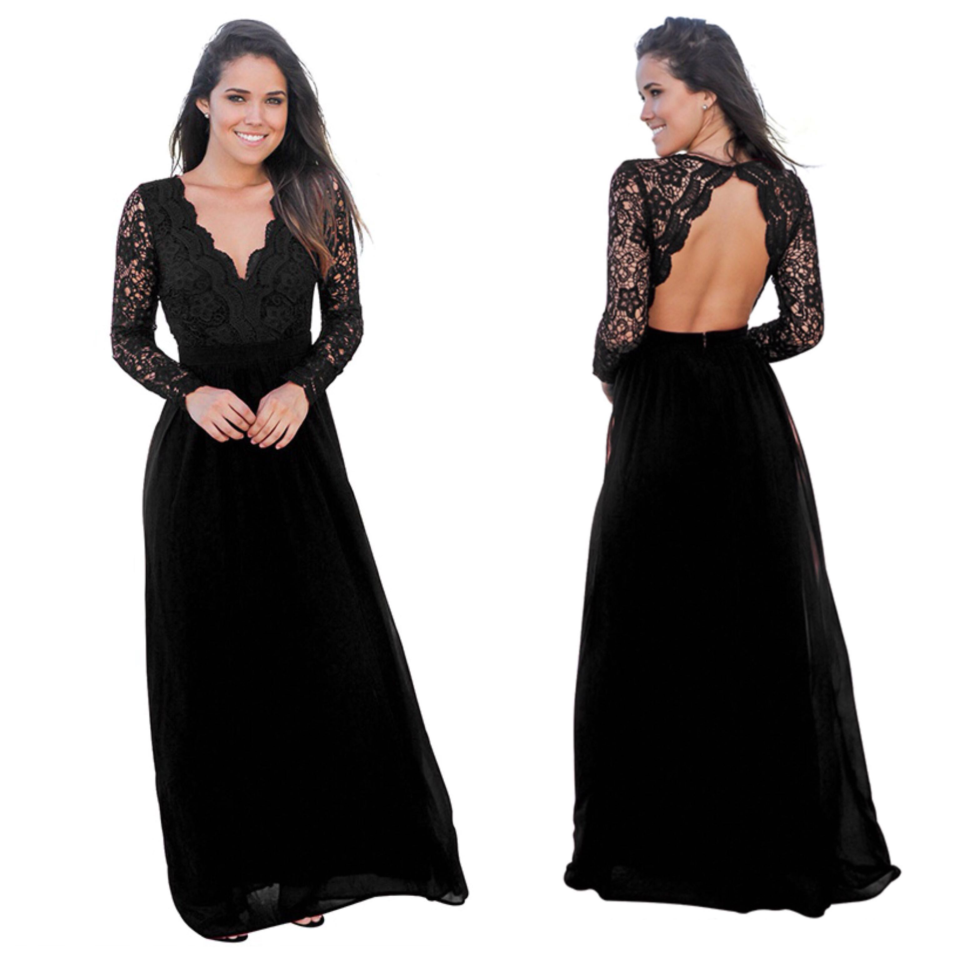 XS small black maxi long formal backless evening long sleeve Lace dress