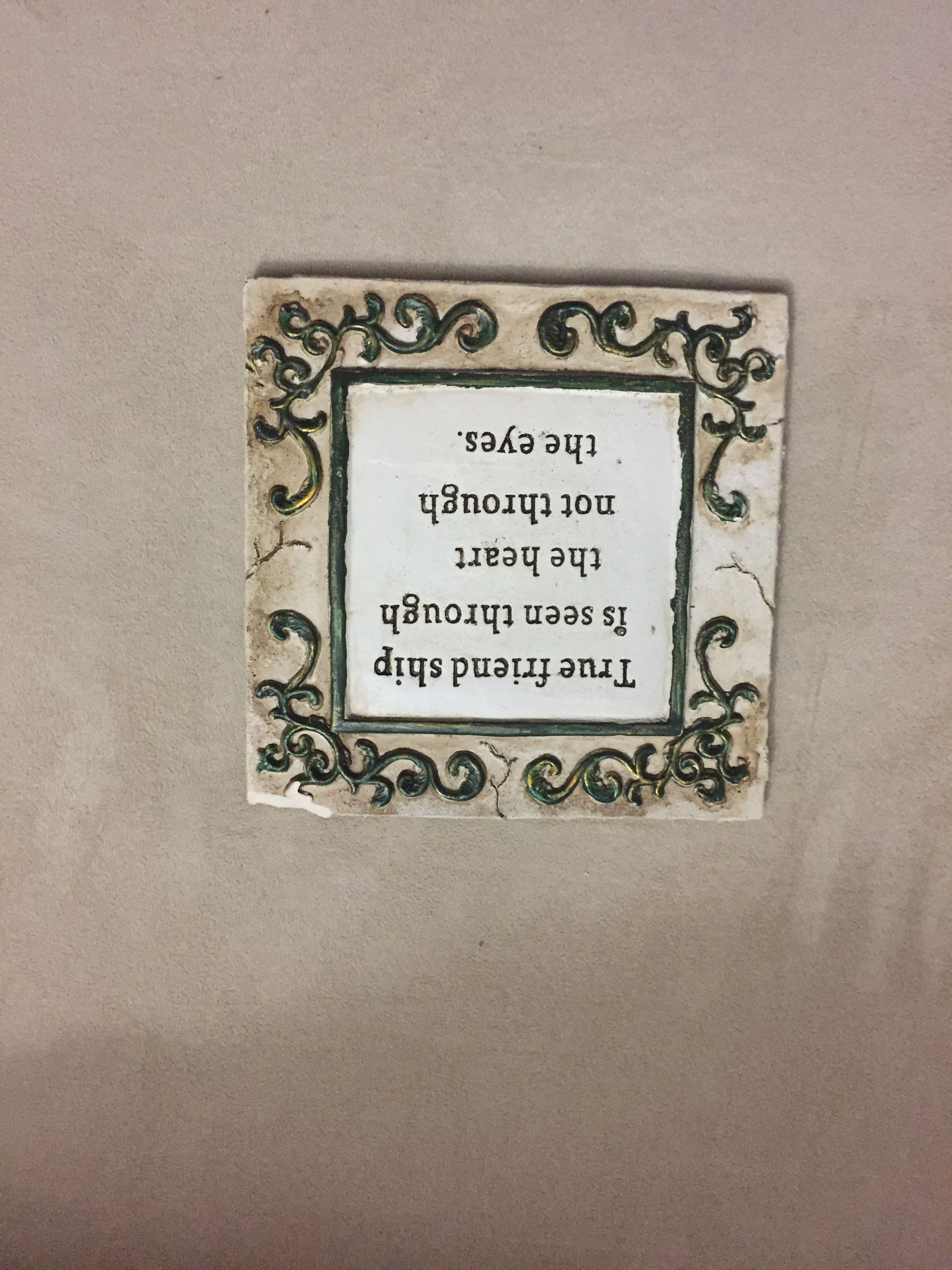 Friendship plaque - small chip in corner - 50 cents