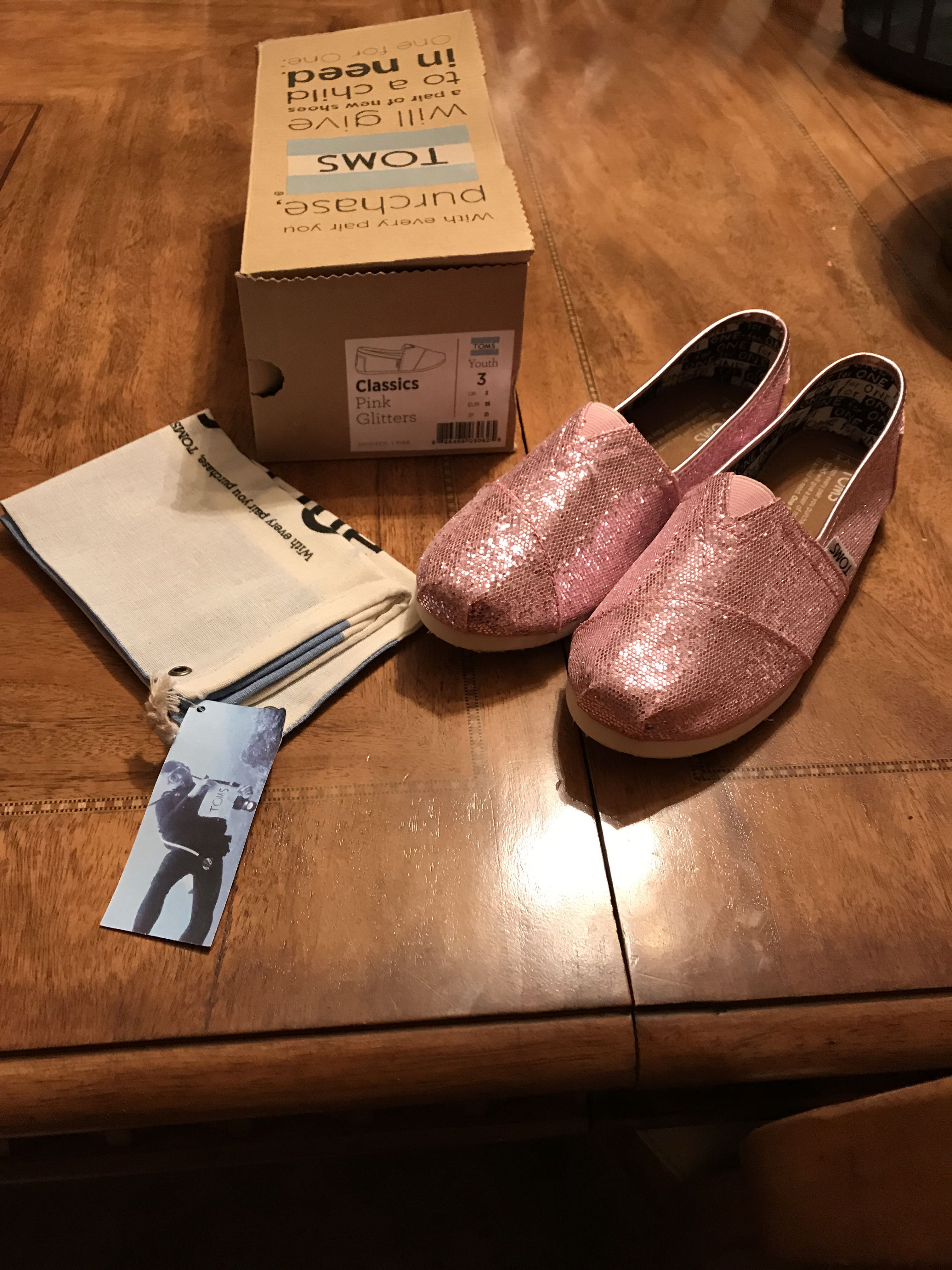 TOMS Classics Pink Glitters (youth 3)