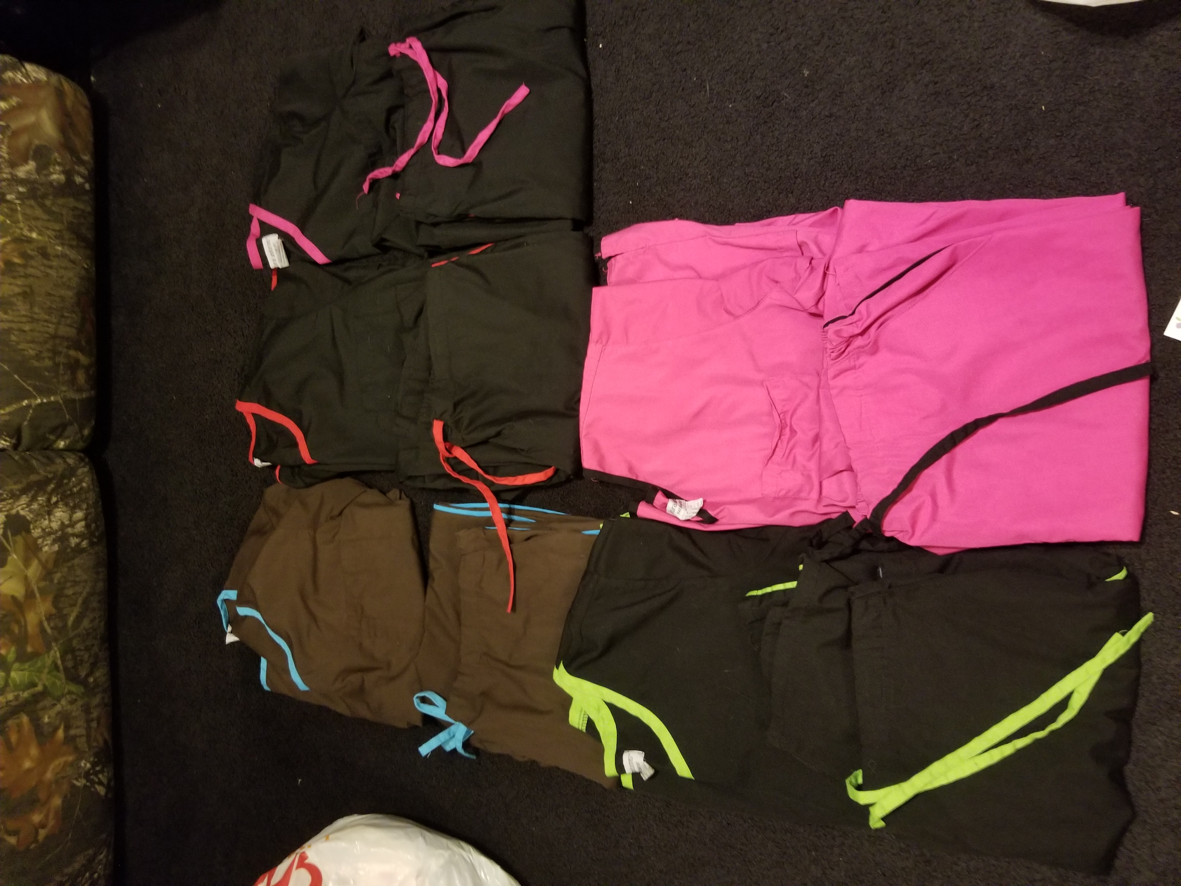 5 sets of Large scrubs! Matching tops and bottoms! $5 each set or all for $20!