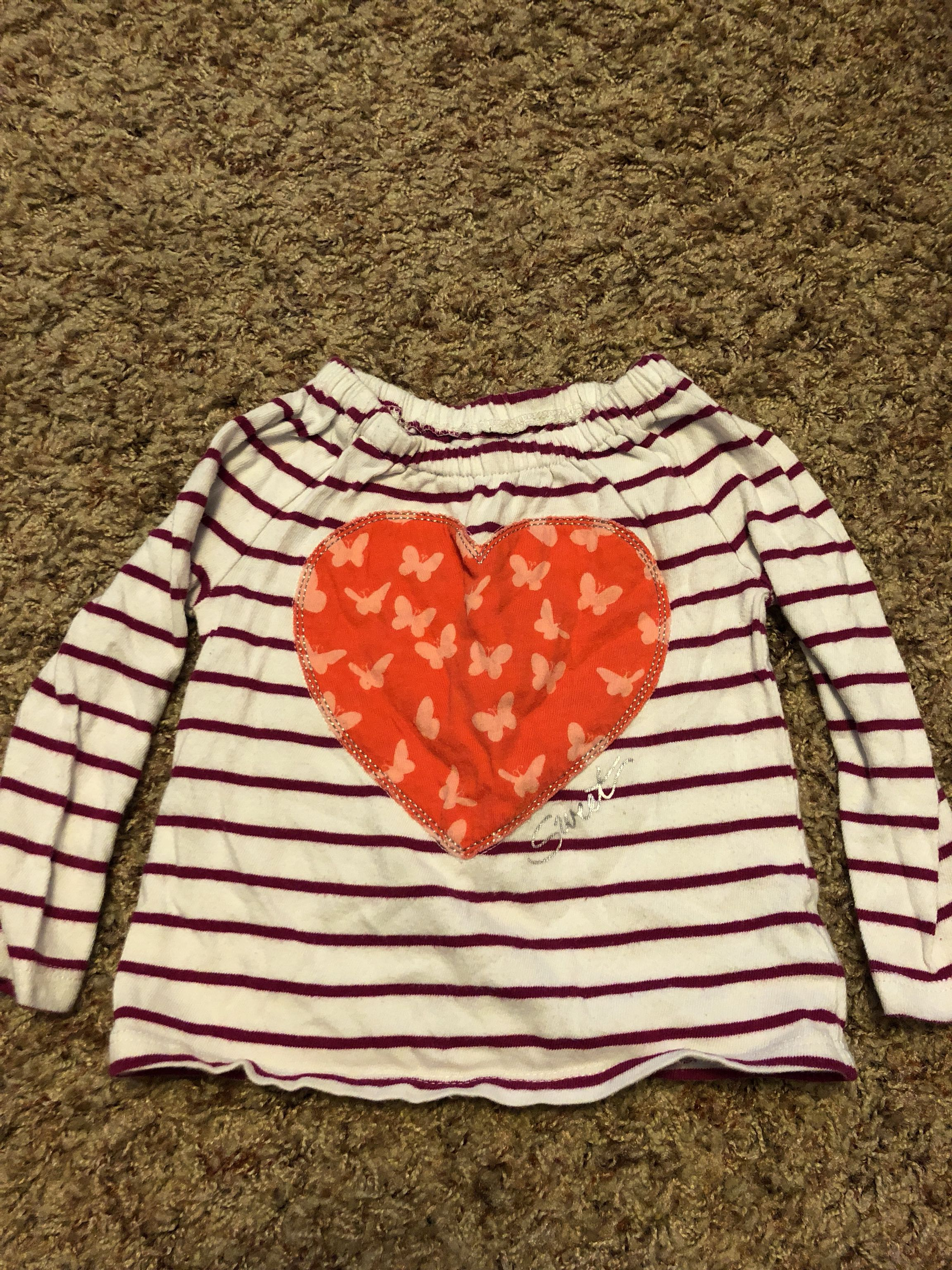 Purple & white stripped long sleeve shirt size 12-18 months