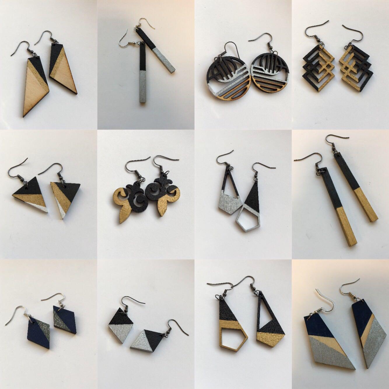 Wooden Lasered Metallic Earrings