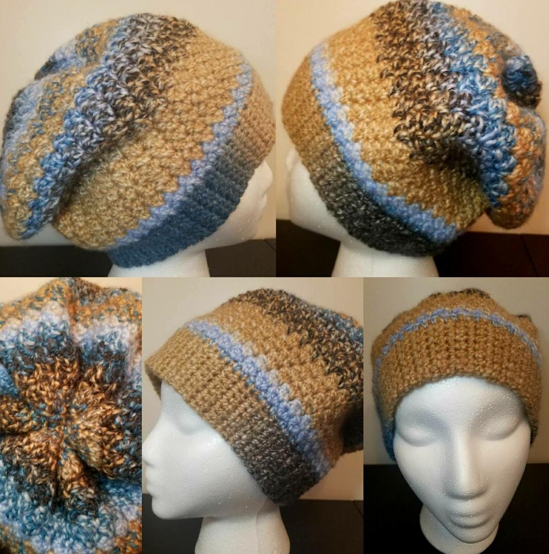 Handmade womens crochet slouchy hat