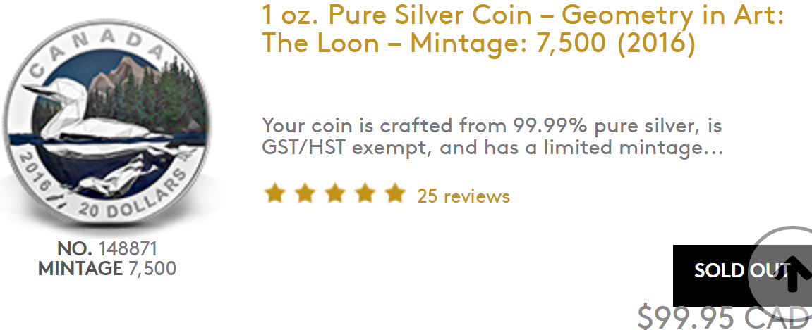 Collectible Silver Loon Coin in mint condition