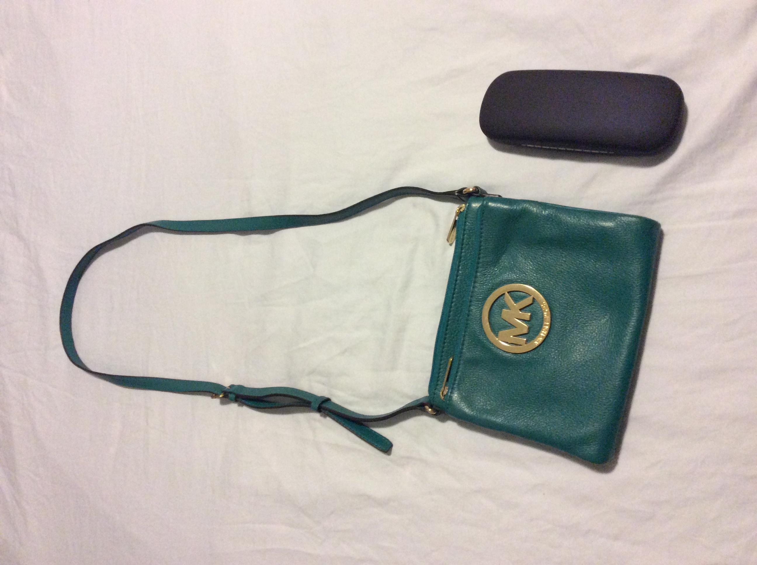 Teal leather micheal kors handbag