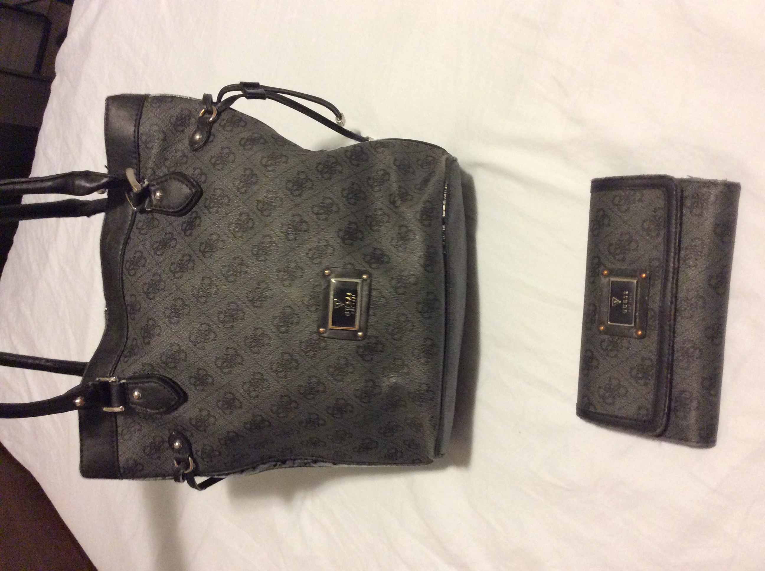 Beautiful black leather guess purse and wallet