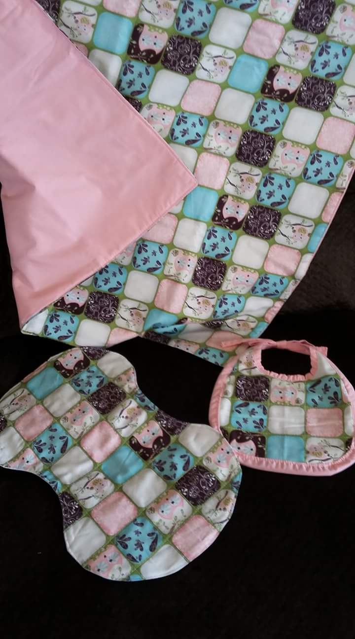 Baby Blanket with Bib and Burp Rag
