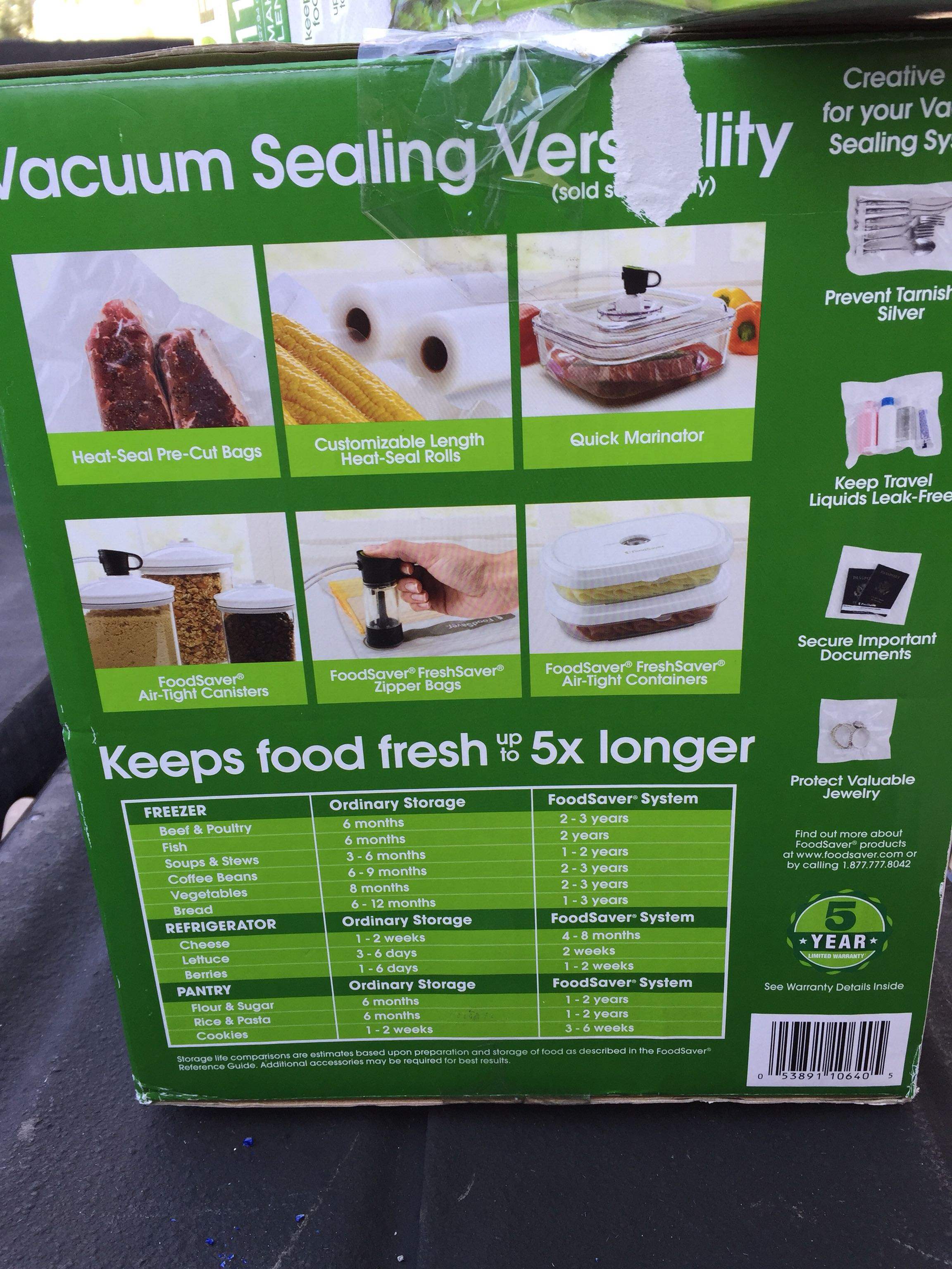 Vacuum sealed food storage
