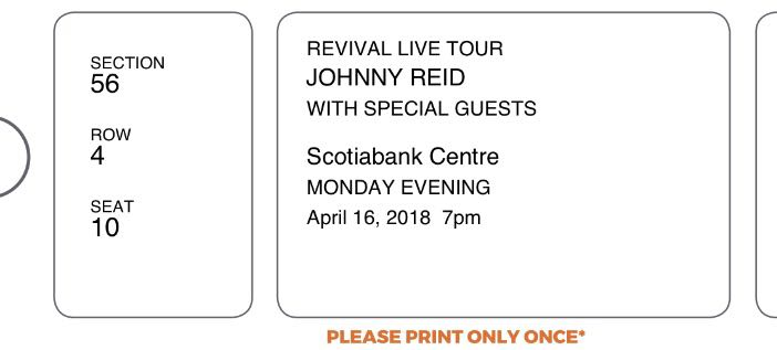 2 Floor Level Johnny Reid Tickets for April 16th at the Scotiabank Centre! $100 OBO.