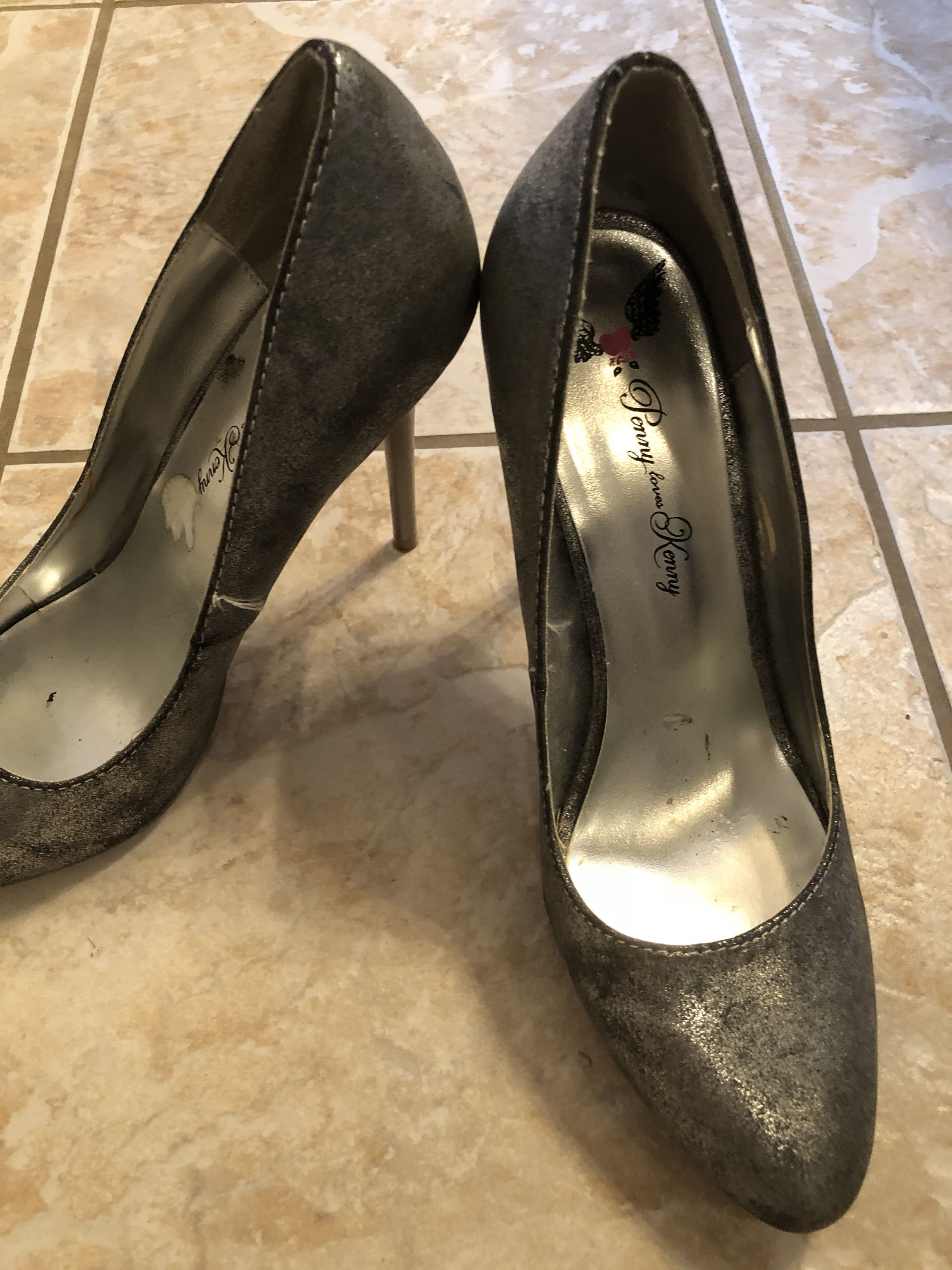 Silver heels. Size 9.5. Worn once.