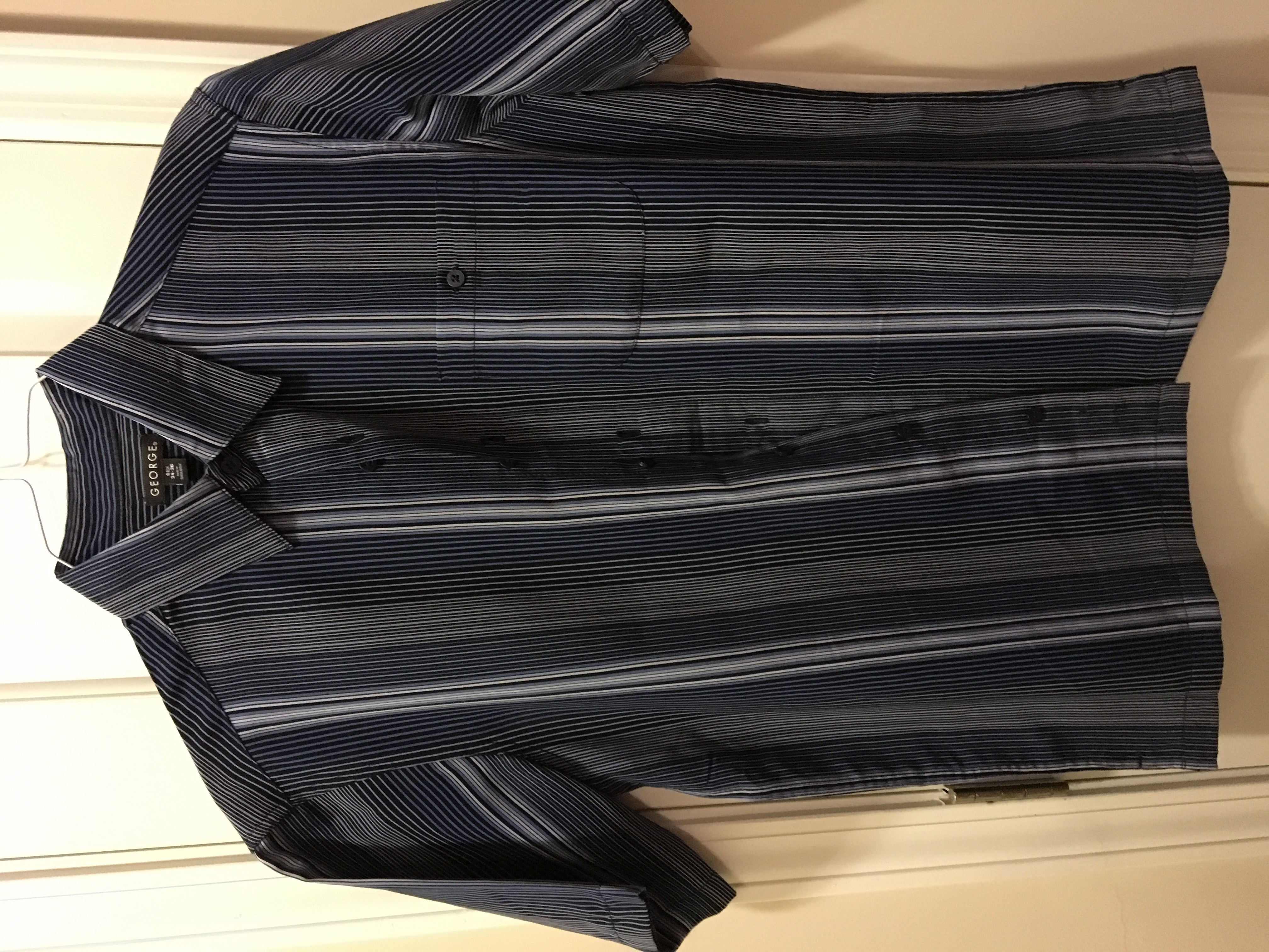 Black, Blue, and Gray Striped Short-Sleeved Dress Shirt
