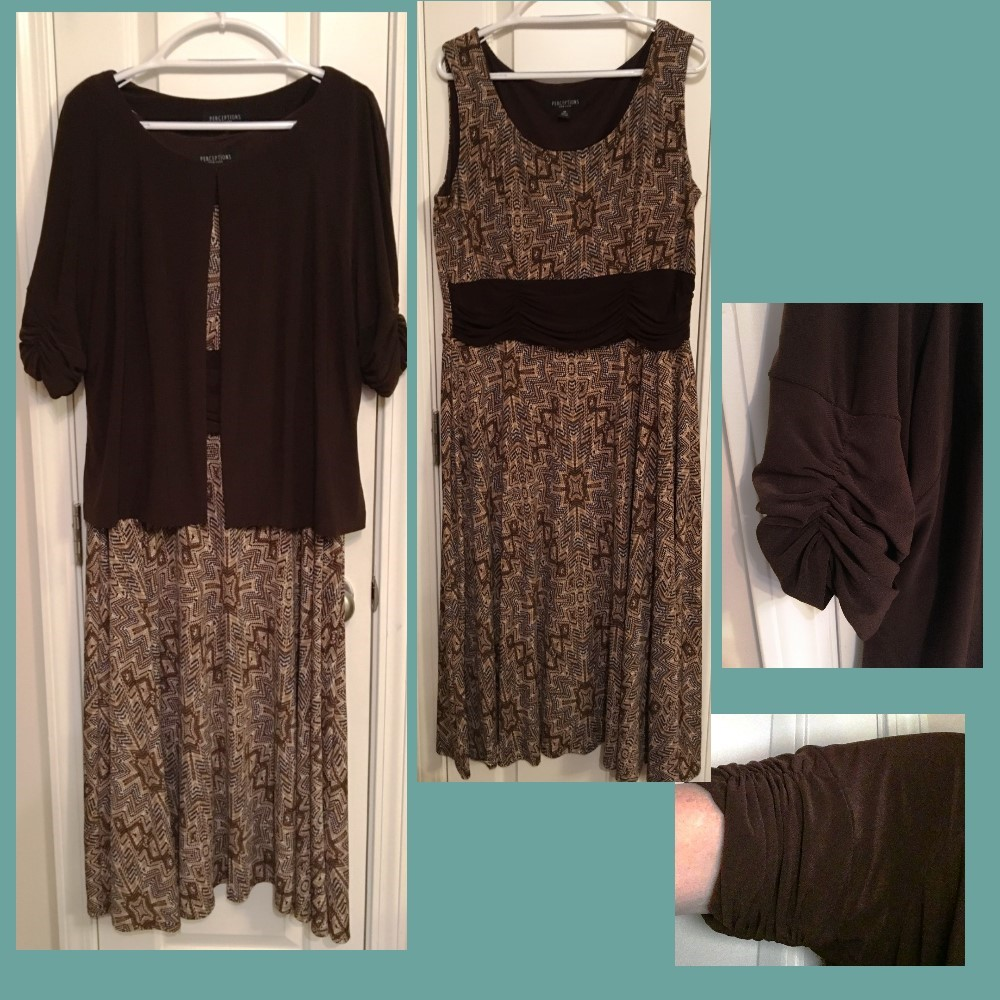 Brown Print Knit Dress with Short-Sleeved Brown Jacket - Size 18