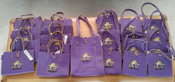 21 NEW LSU PURSES-SEVERAL SIZES-$60