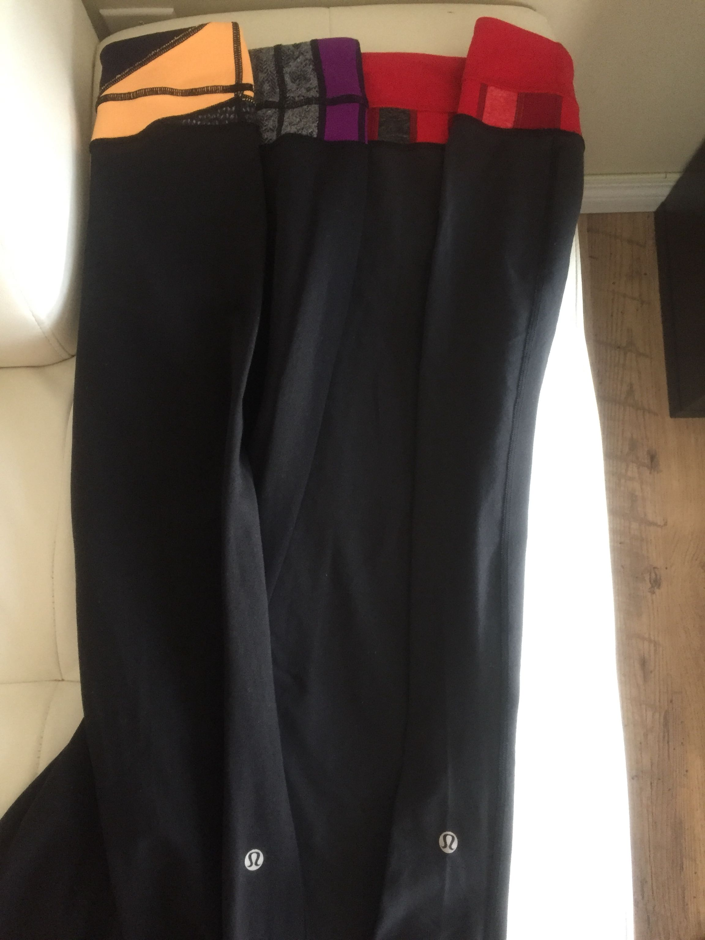 Lululemon size 6, 2 pairs of reversible groove pants EUC!!