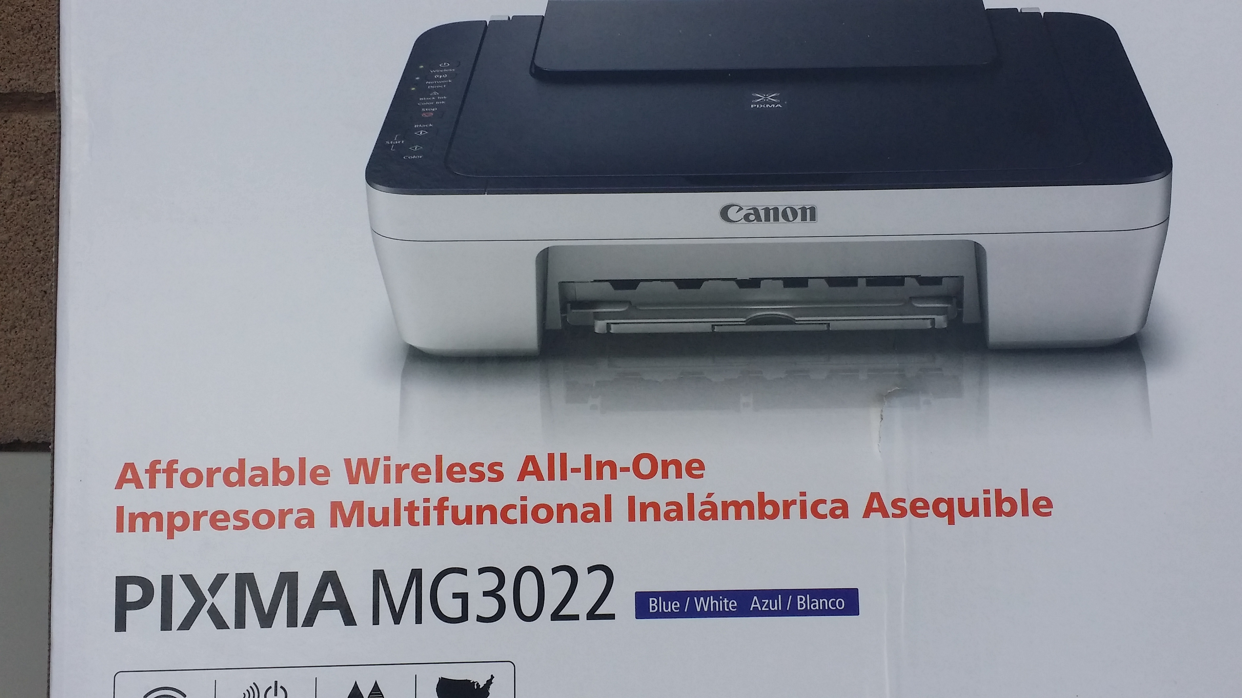 Picture Information Have one to sell? Sell now Details about Canon PIXMA MG3022 white/blue Wireless All-In-One Inkjet Printer