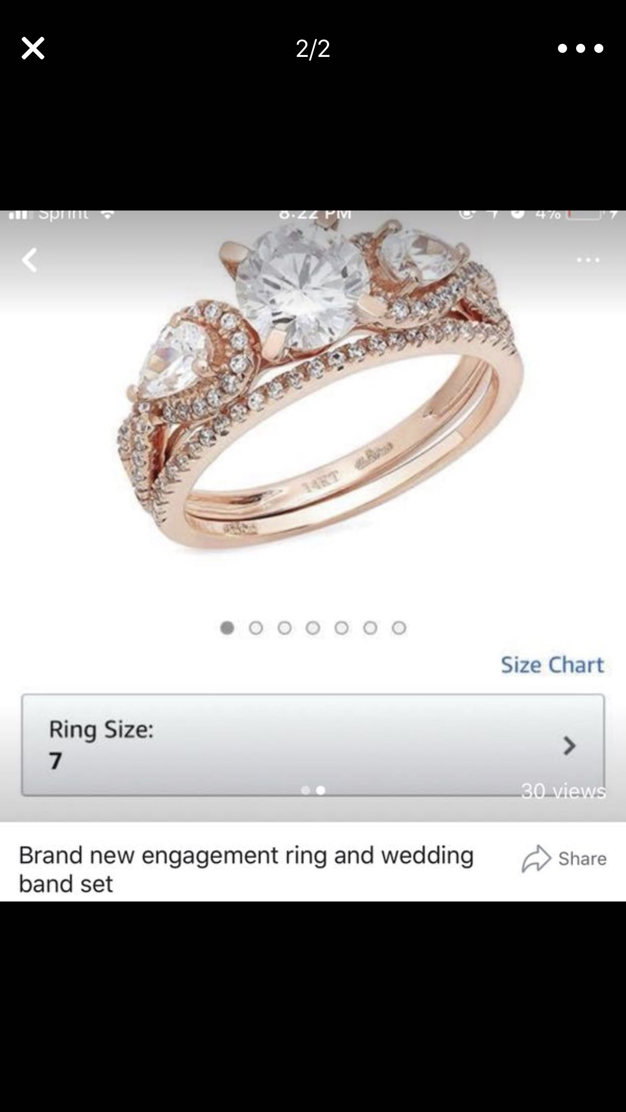 Brand new engagement ring and wedding band set.. it is real .