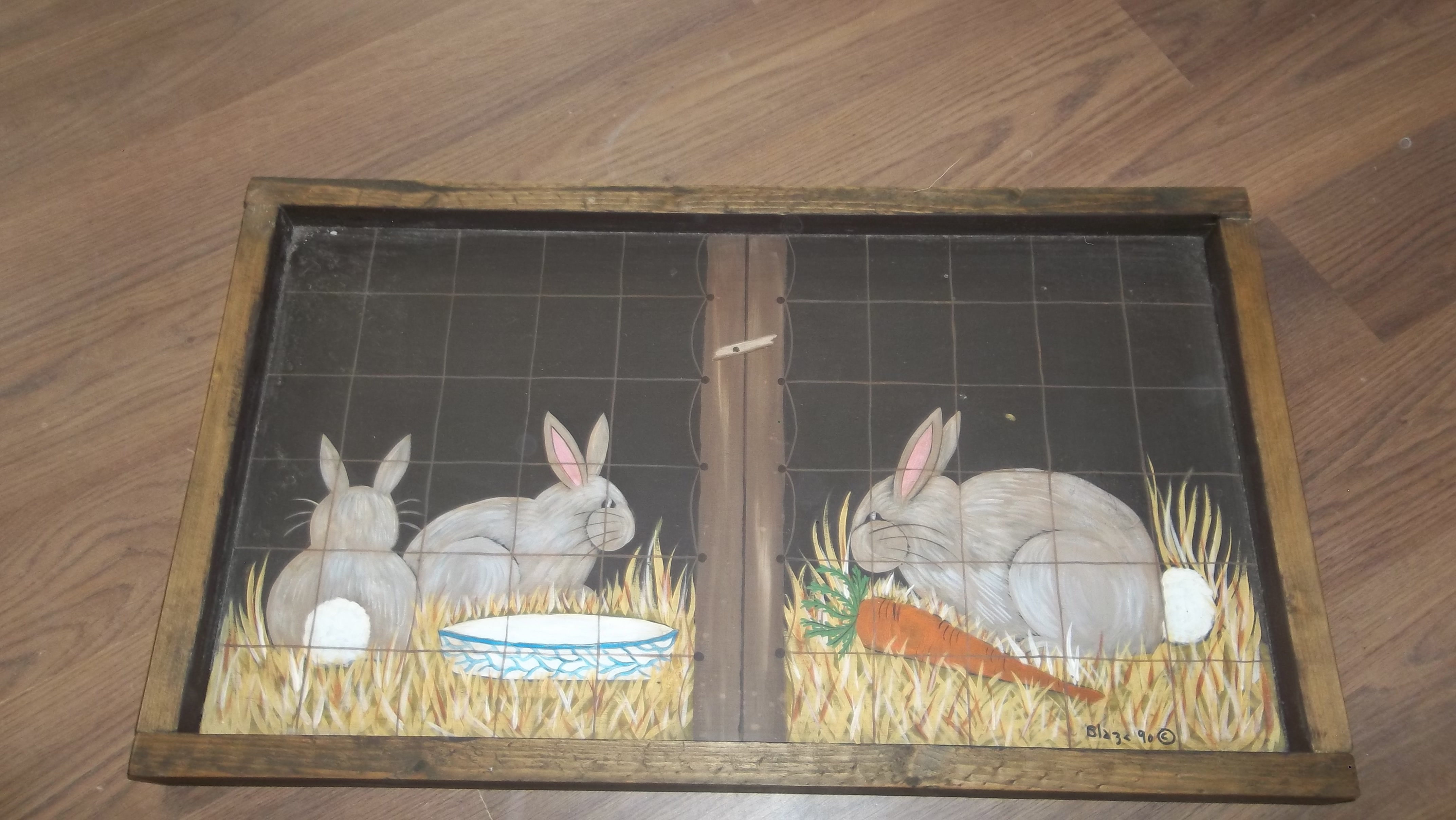 wooden rabbit wall hanging
