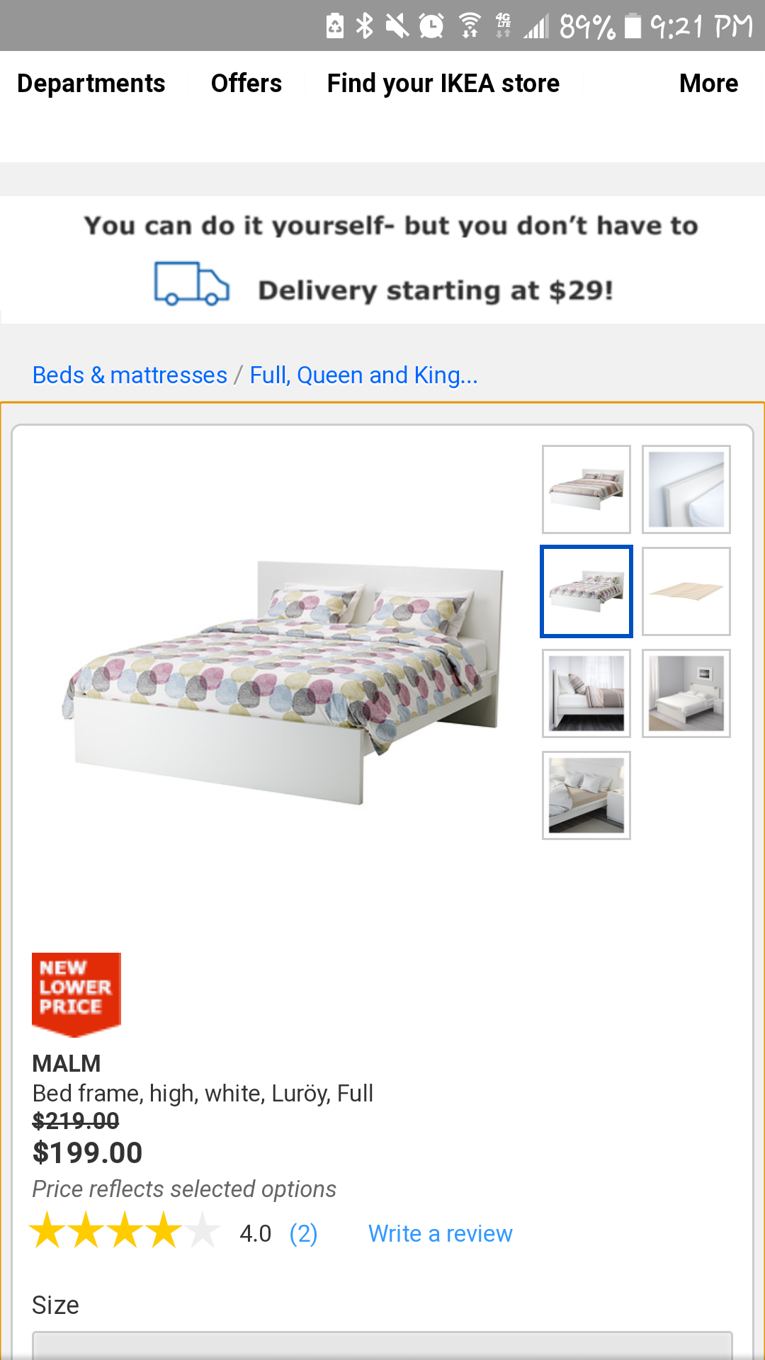 IKEA BED - MALM - FULL SIZE - COMPLETE - GREAT CONDITION $199 NEW!