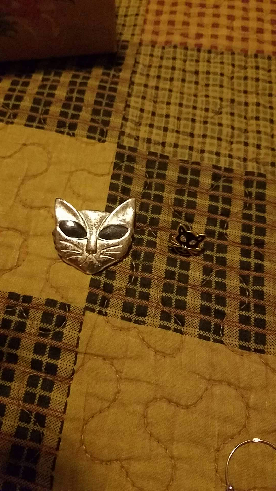Two vintage cat pins