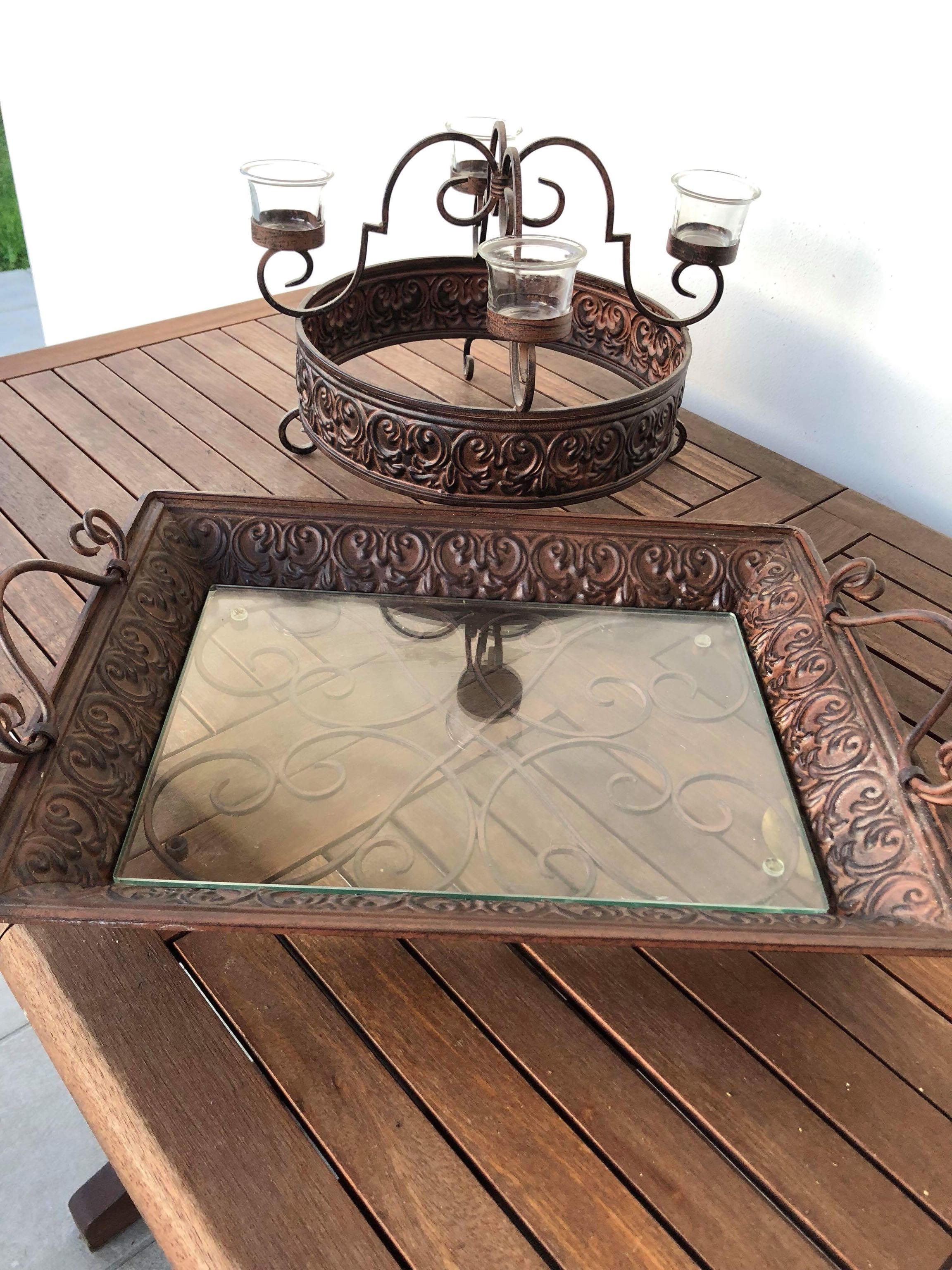 Wrought Iron Serving Tray and Candle Holder