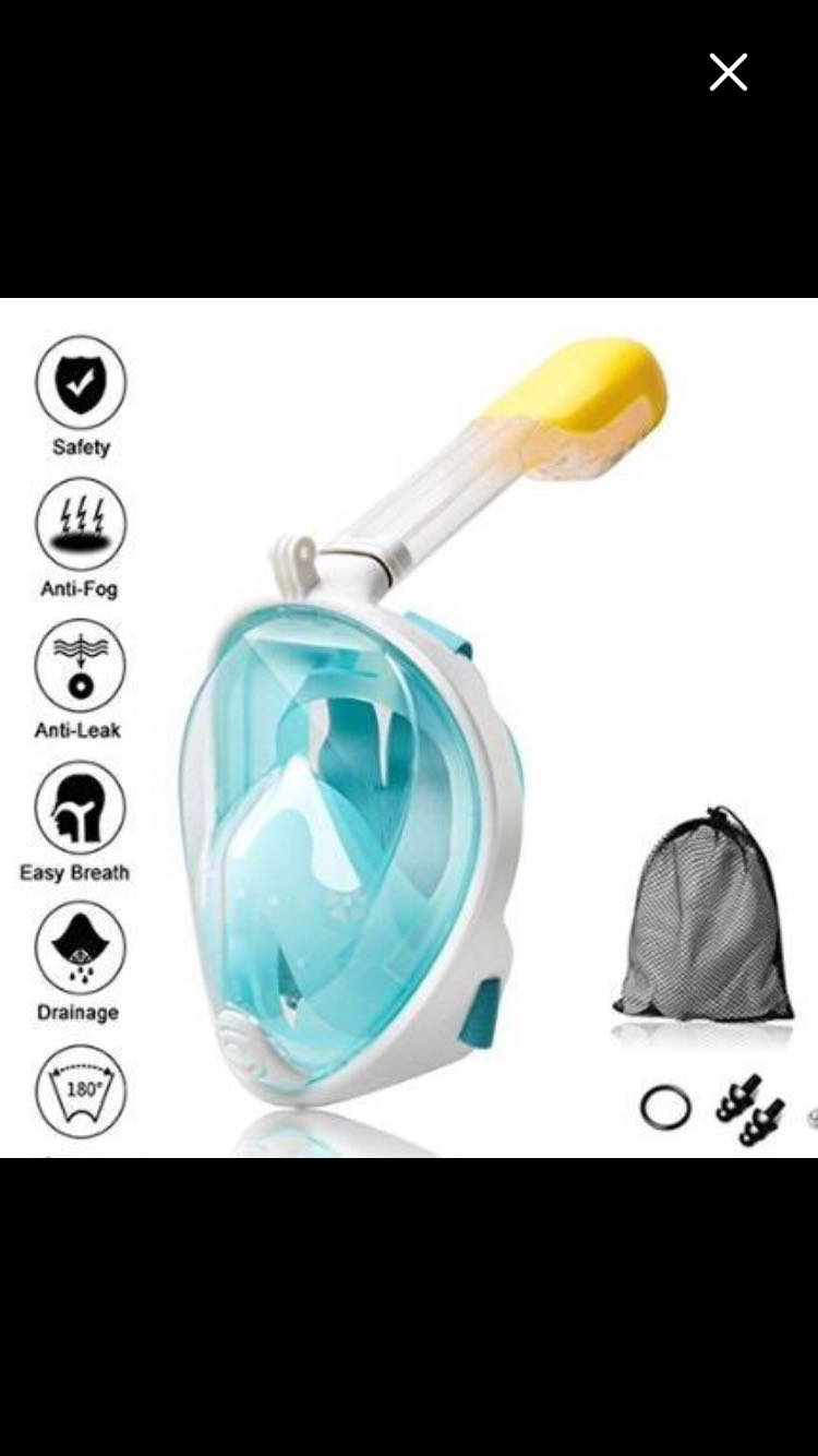 New Full Face Snorkel Mask W/ GoPro Capability