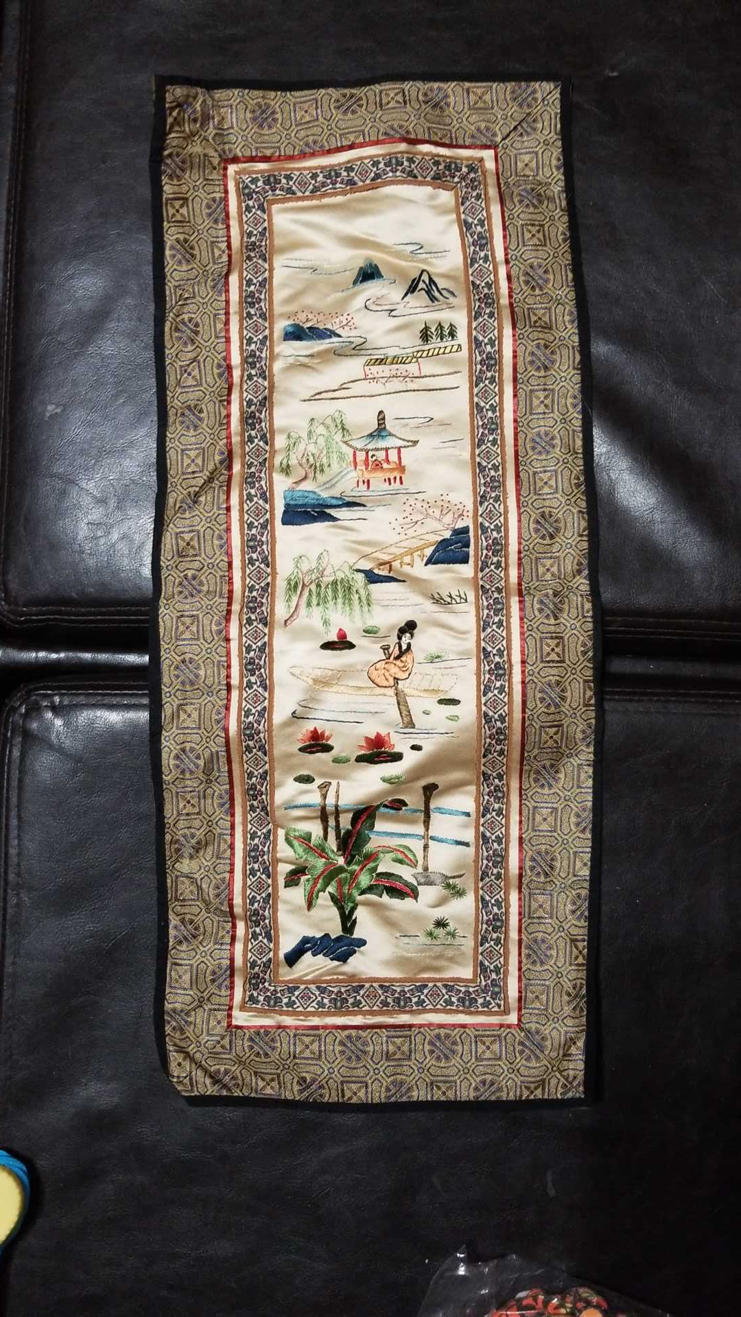 """Embroidered asian silk tapestry from China 23"""" x 9.5"""""""