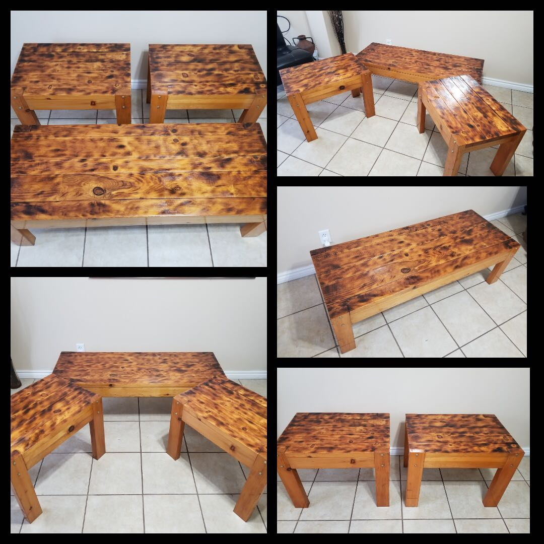 Reclaimed wood Coffee table with 2 end tables