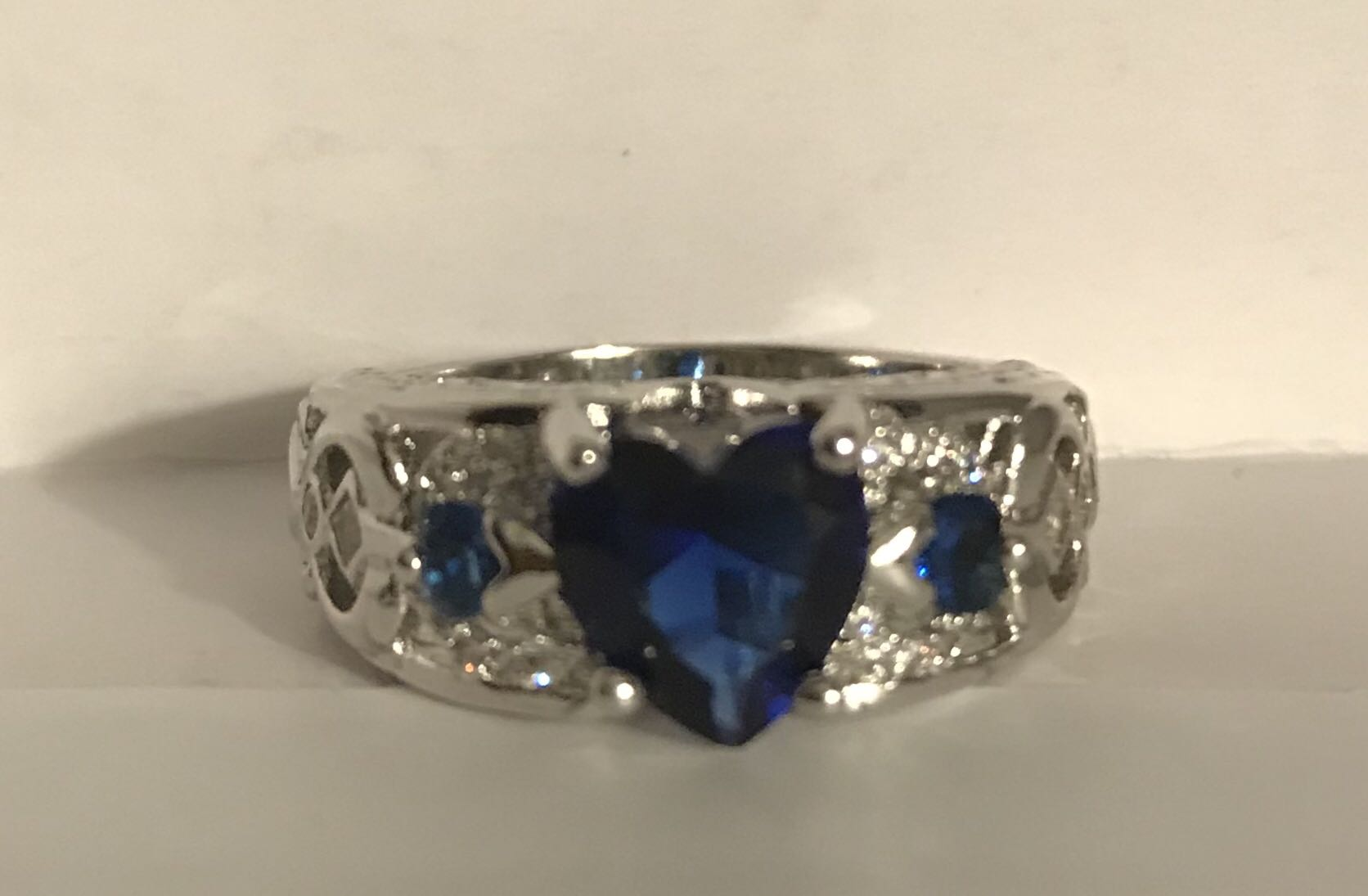 18K White Gold Plated Sapphire Heart Ring