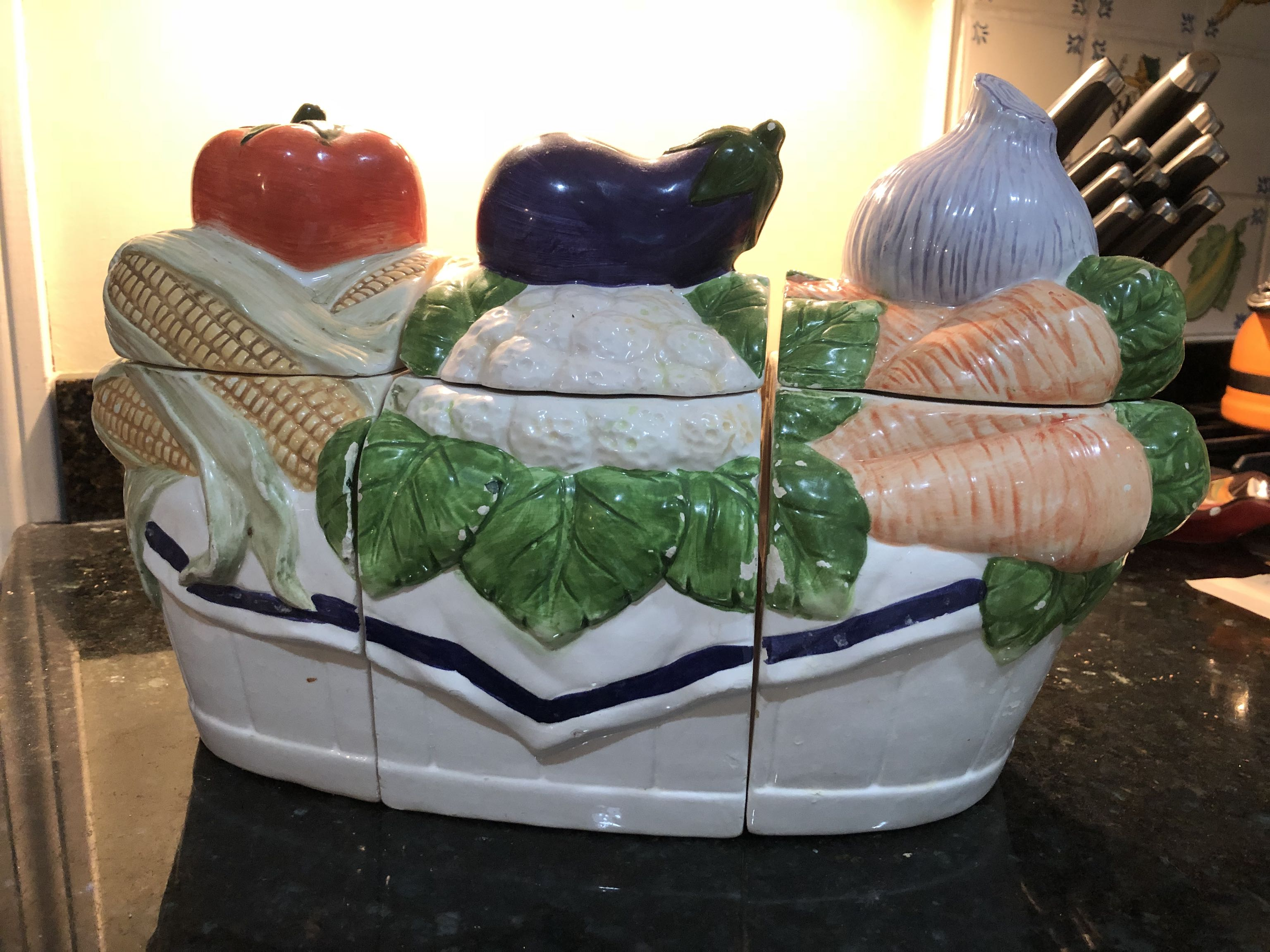 Ceramic 3-section kitchen canisters