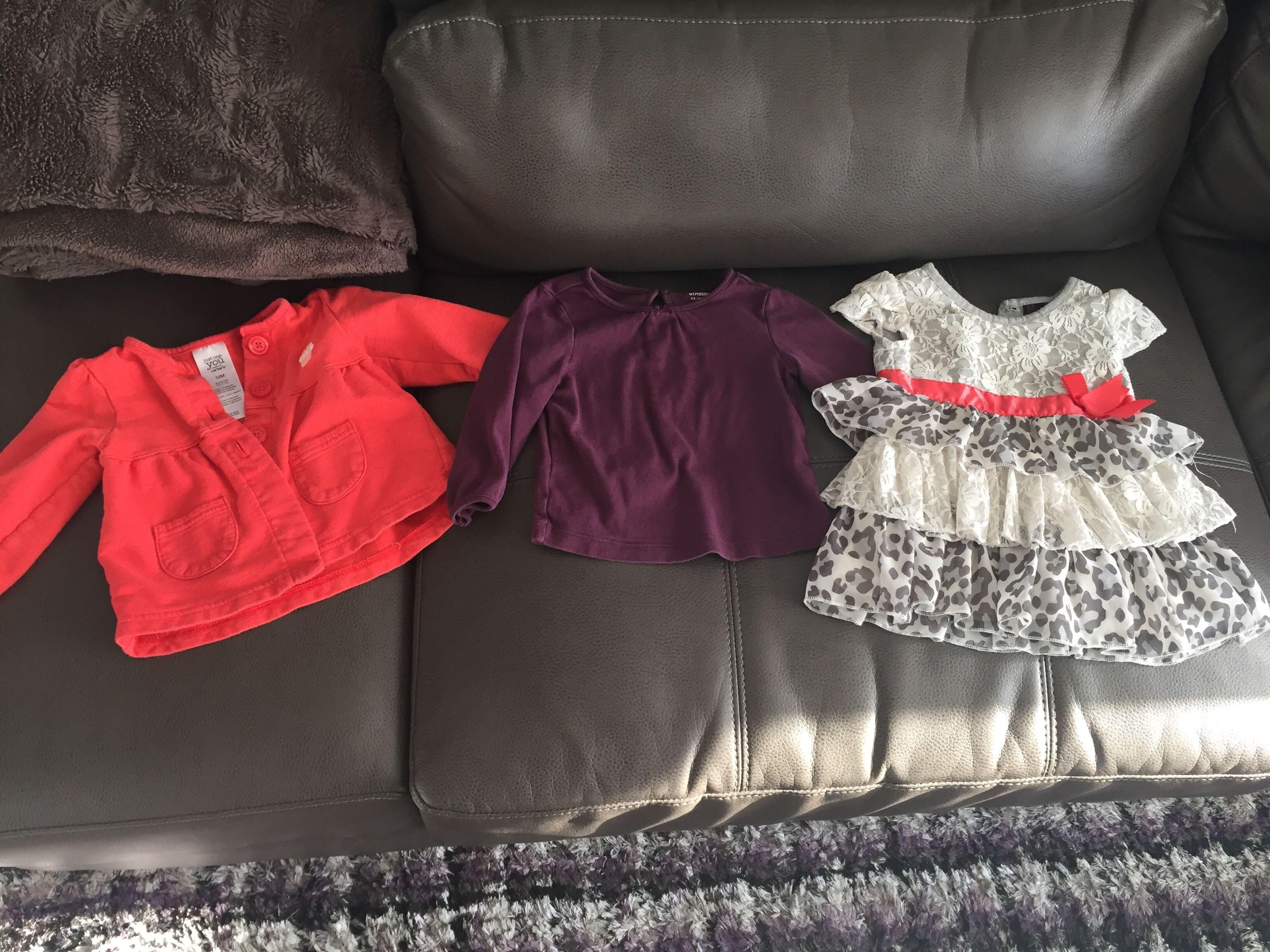 3- Girls Size 12M tops