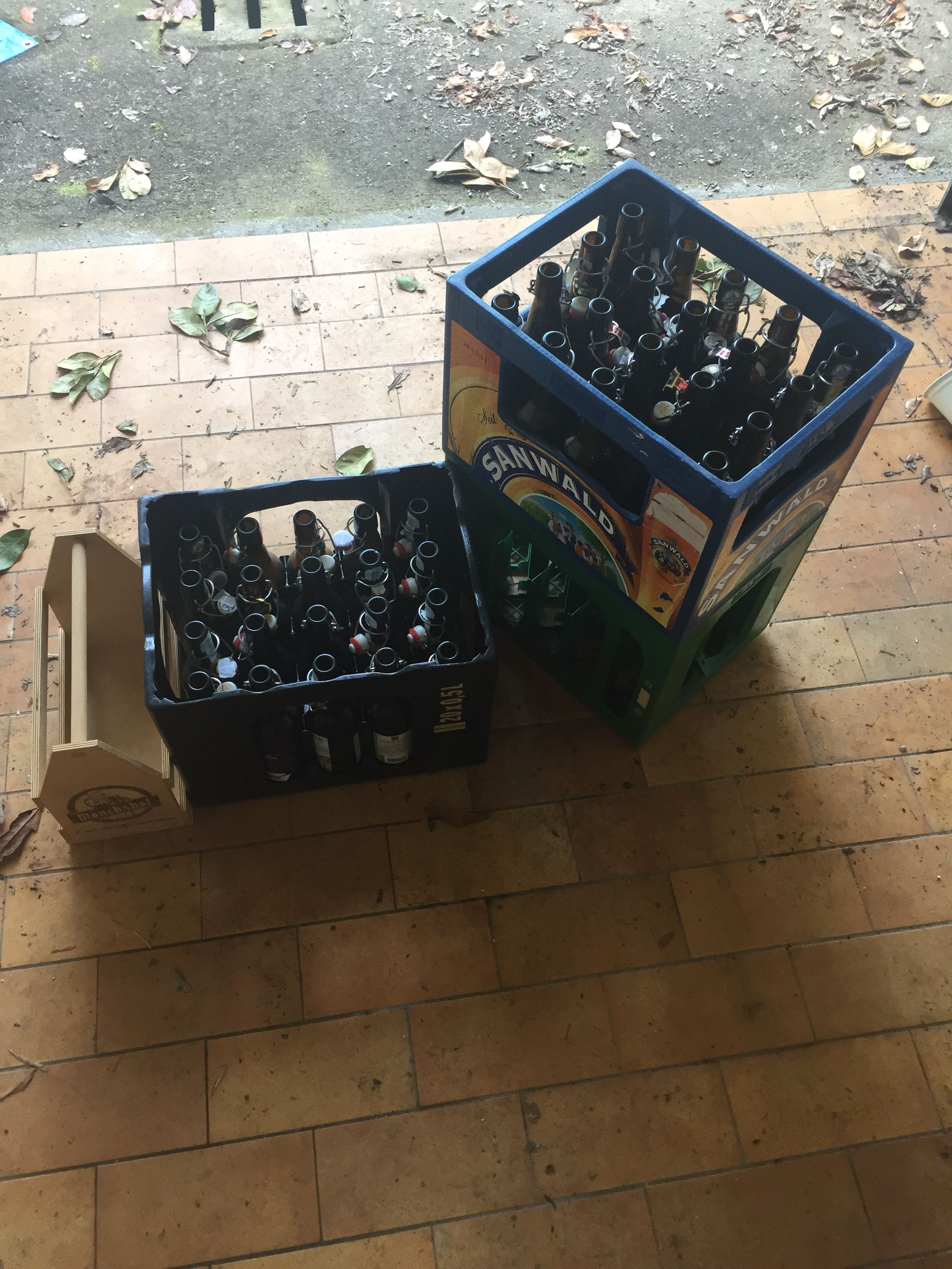 Pop top bottles with crates
