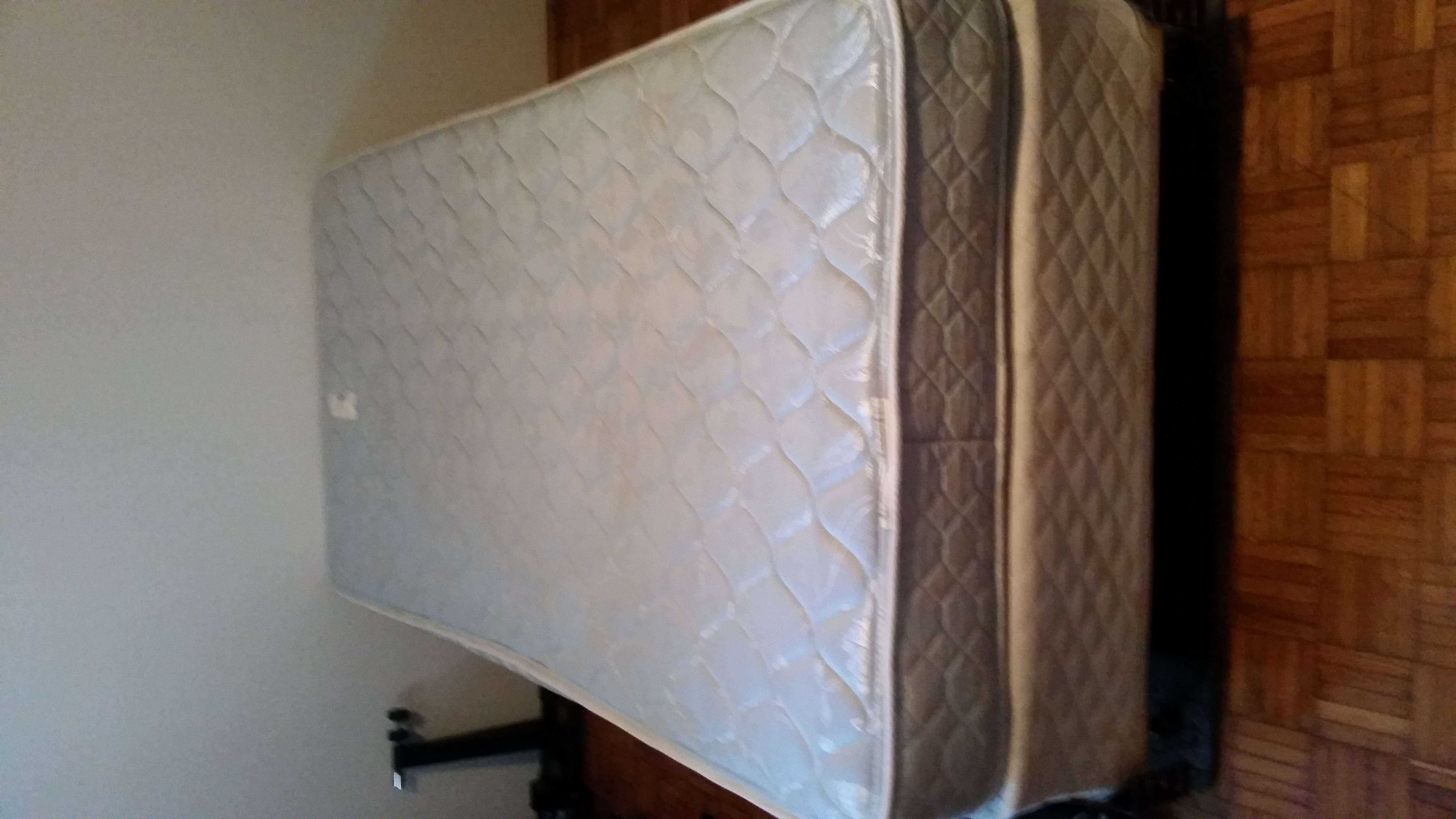 Twin sized mattress, box sping, and metal frame