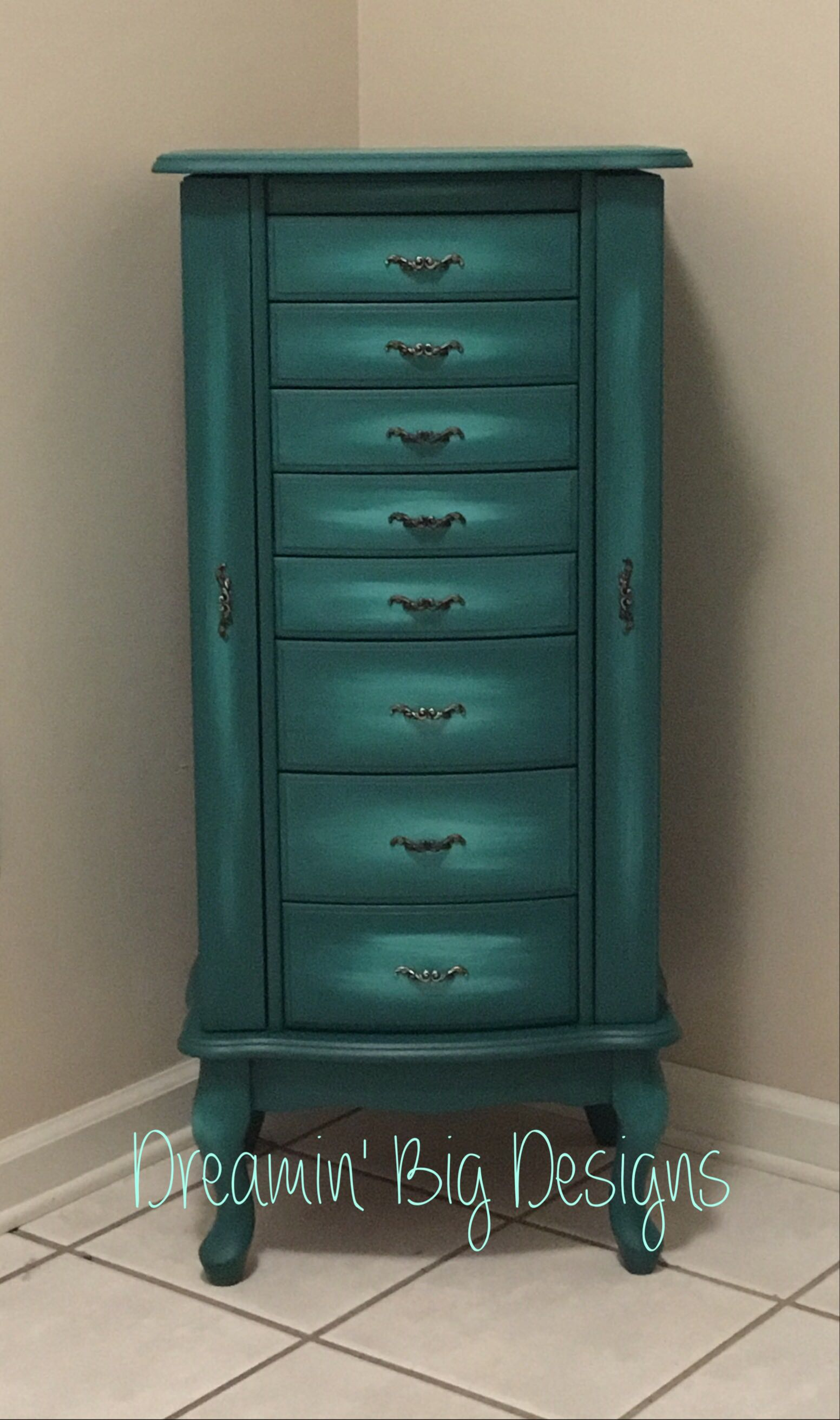 Caribbean Waters Hand Painted Jewelry Armoire