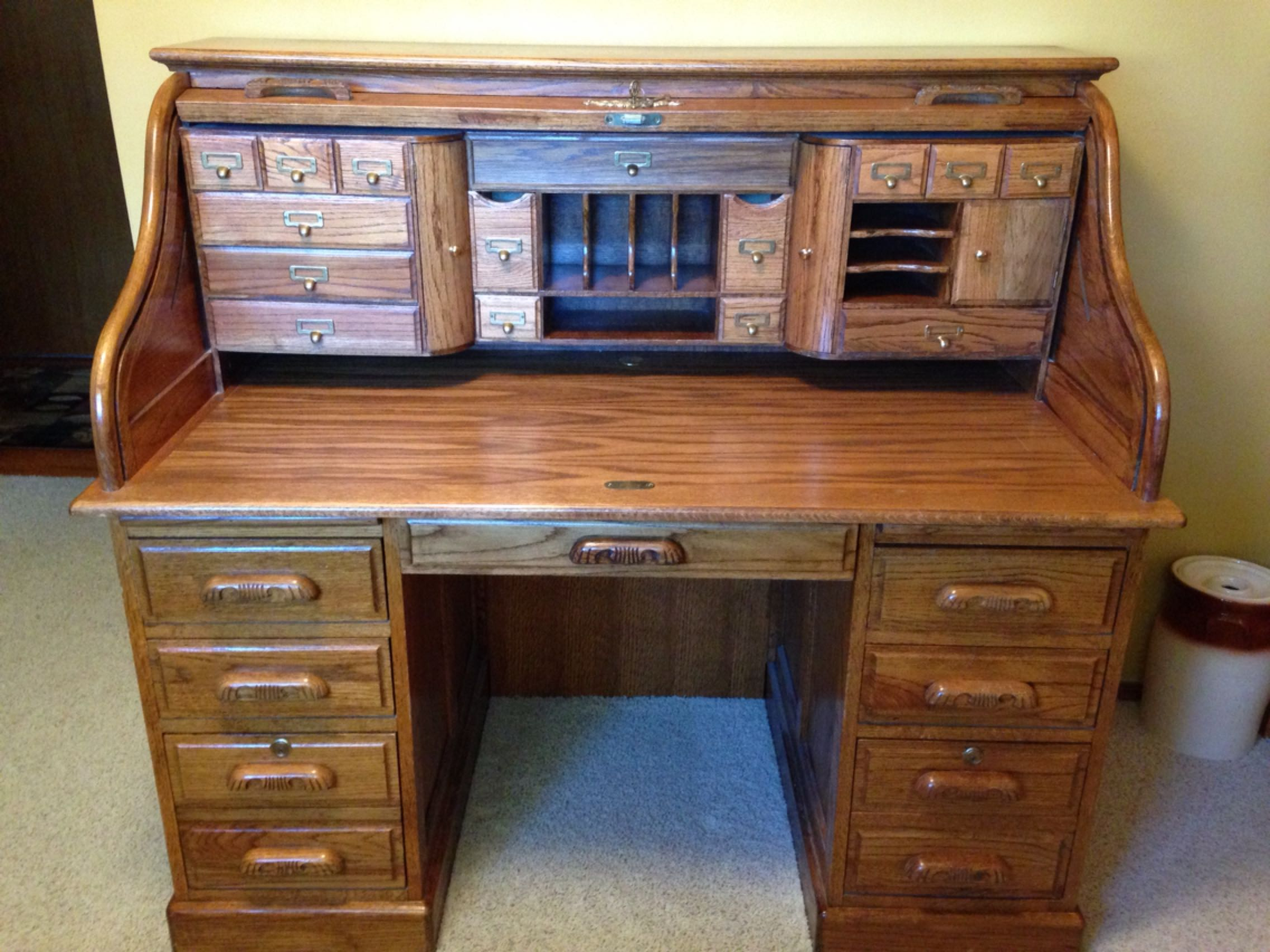 Top Find more Oak Roll Top Desk With Key, Lots Of Storage, Cubby Holes  CT09