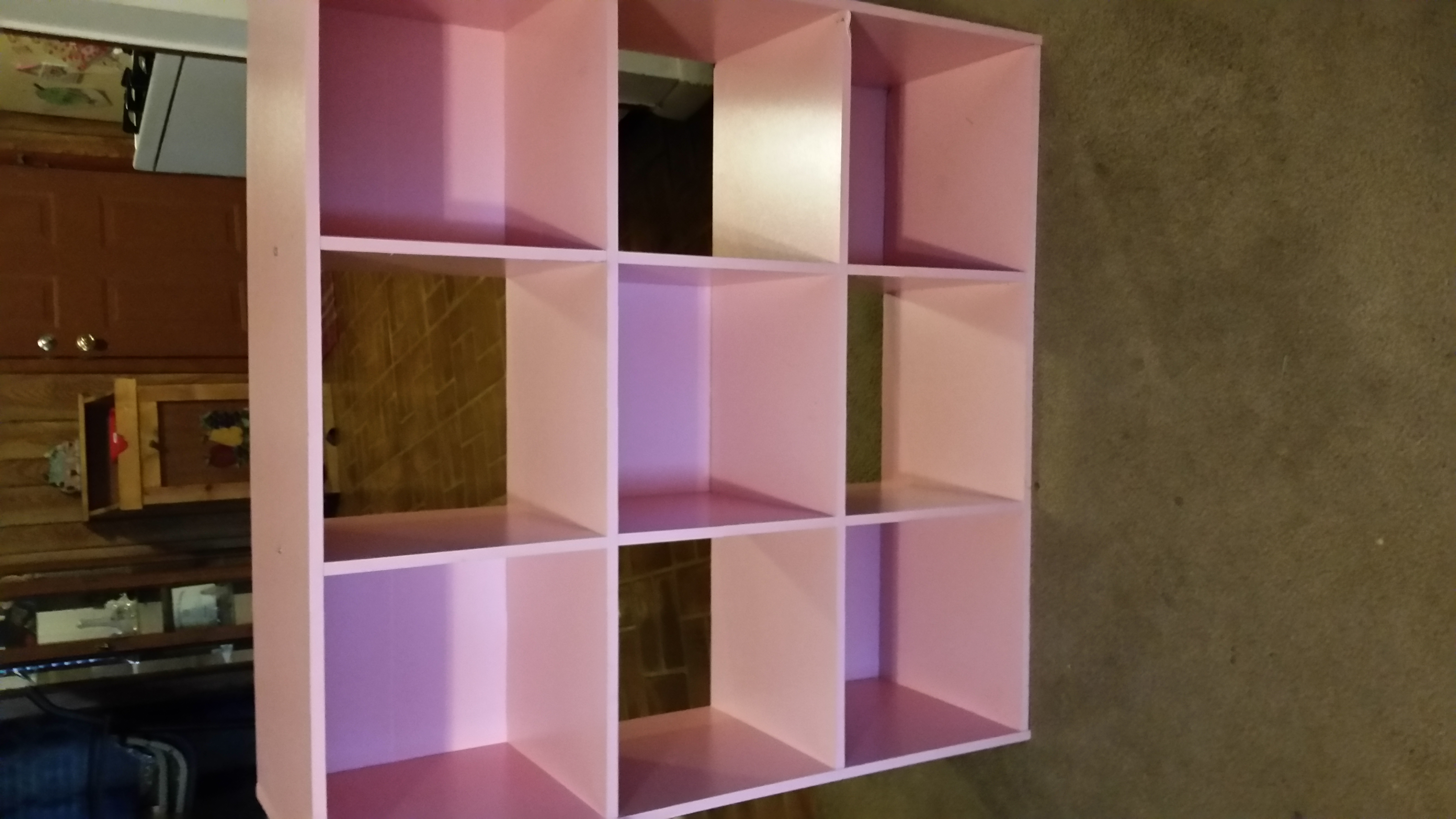 Pink 9 cube organizer. Good condition. Has a few minor blemishes but doesn't affect use. $15