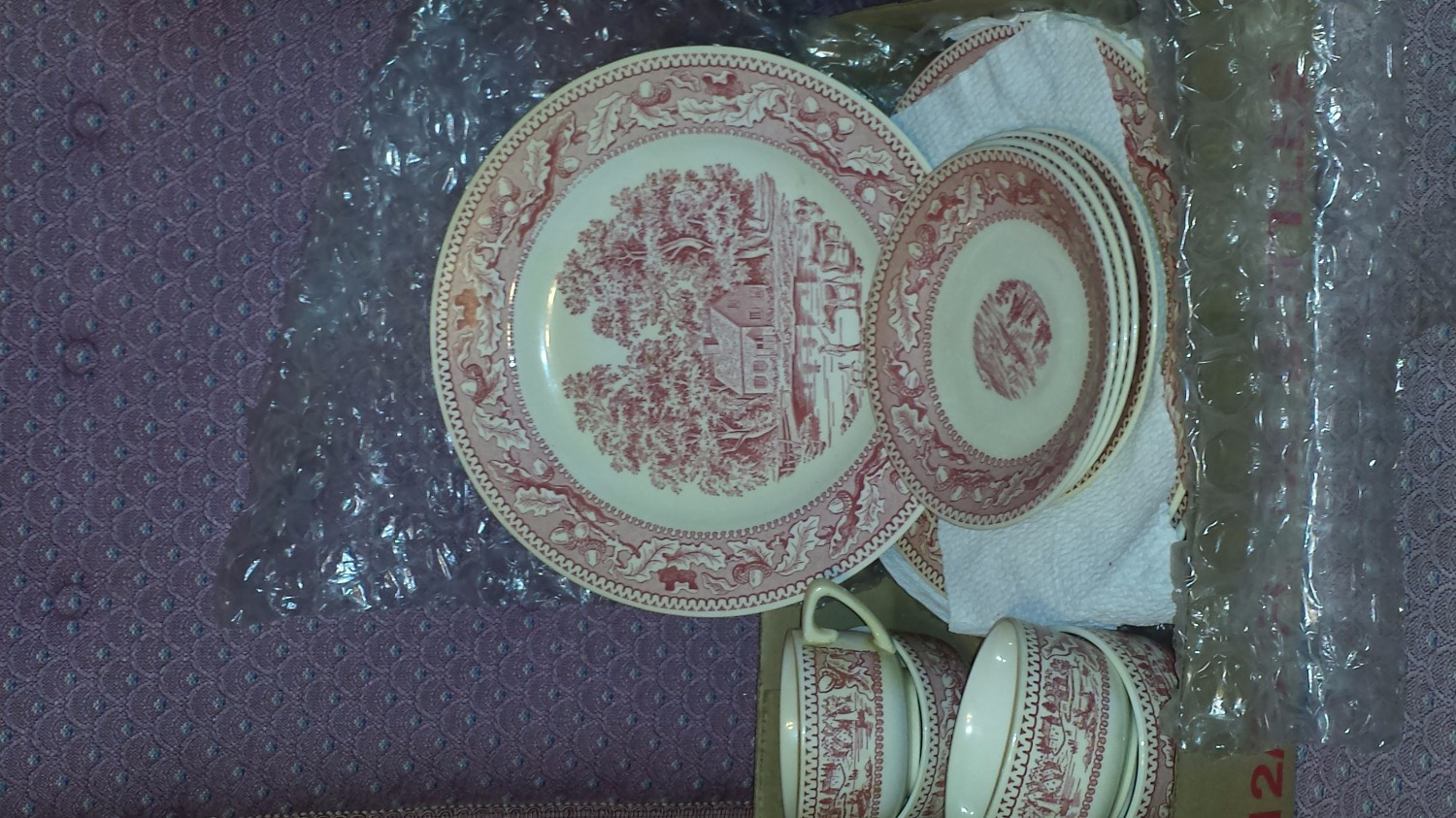 VINTAGE Memory Lane 1965 Red & White Royal IRONSTONE CHINA 12 PCS.