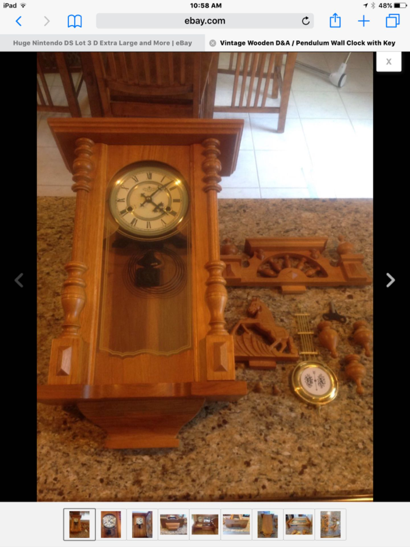 Vintage Wooden D&A / Pendulum Wall Clock with Key