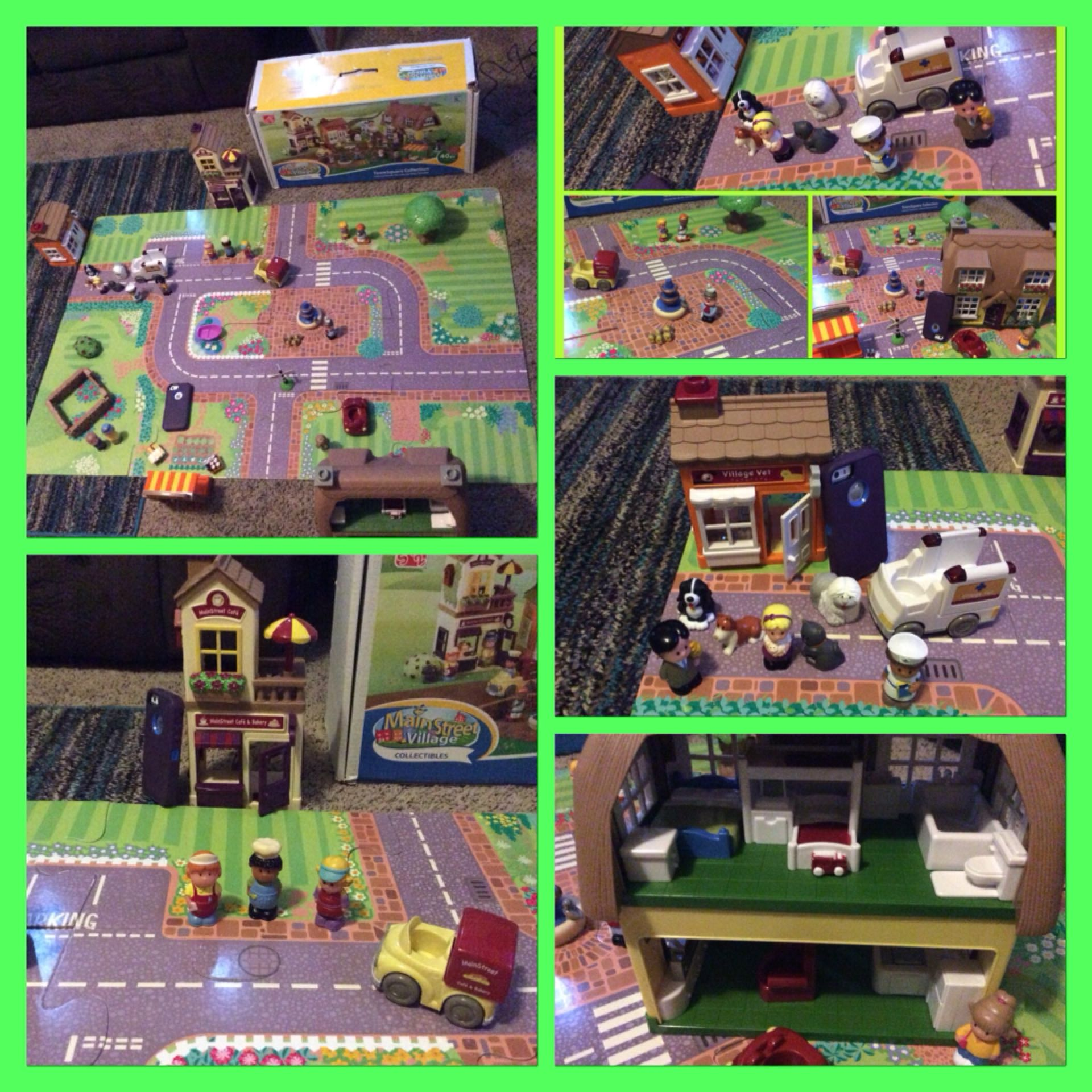 Step 2 Main Street Village Town Square Collection. BIG and Fun set, comes with battery operated buildings, puzzle road, people, accessories.